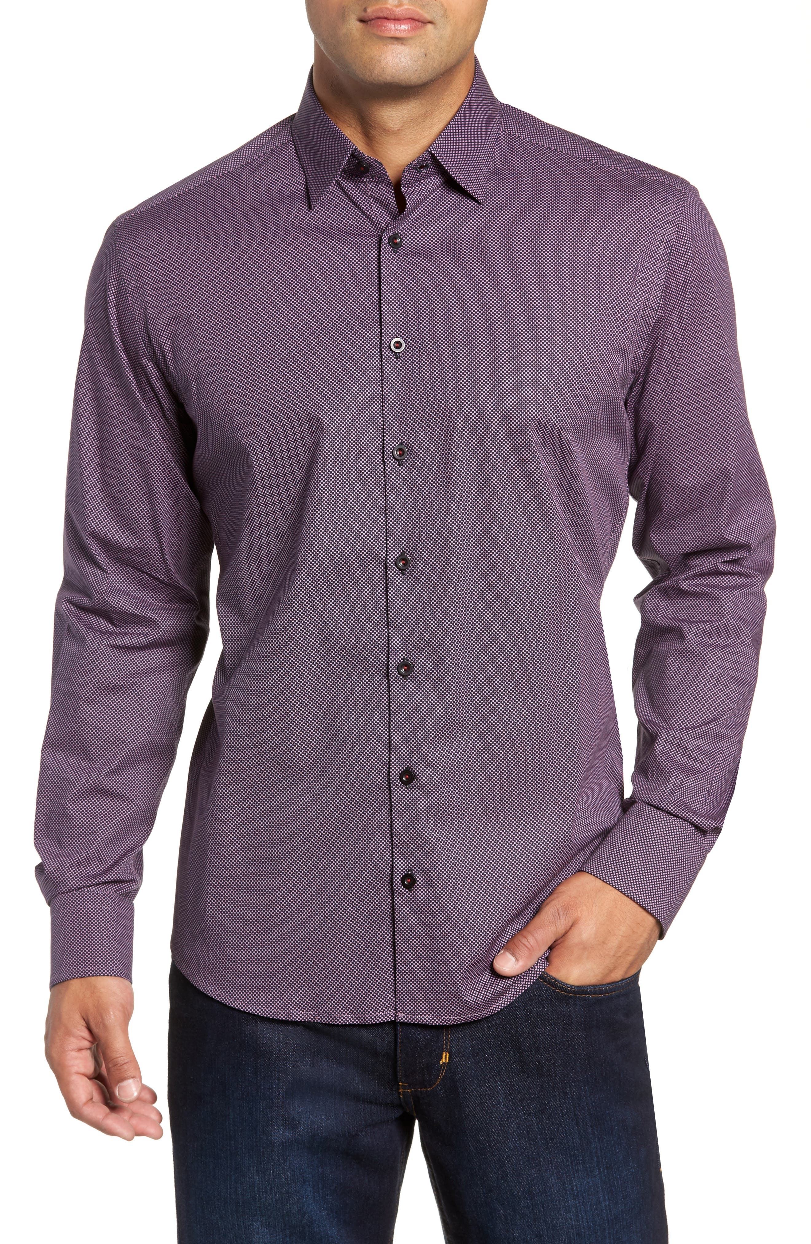 Regular Fit Microdot Sport Shirt,                             Main thumbnail 1, color,                             BLACK