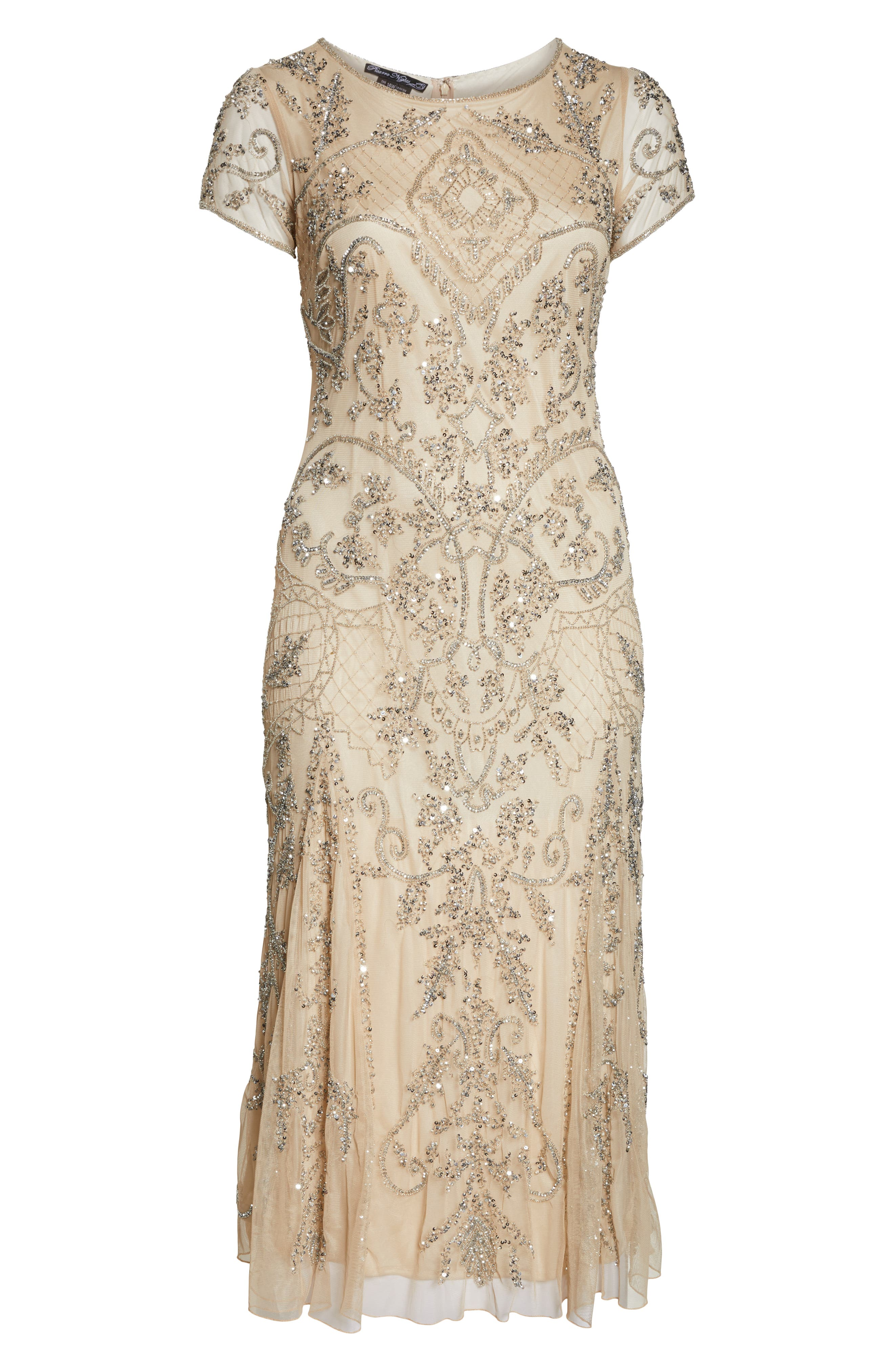 Beaded Short Sleeve Column Gown,                             Alternate thumbnail 7, color,                             CHAMPAGNE/ SILVER