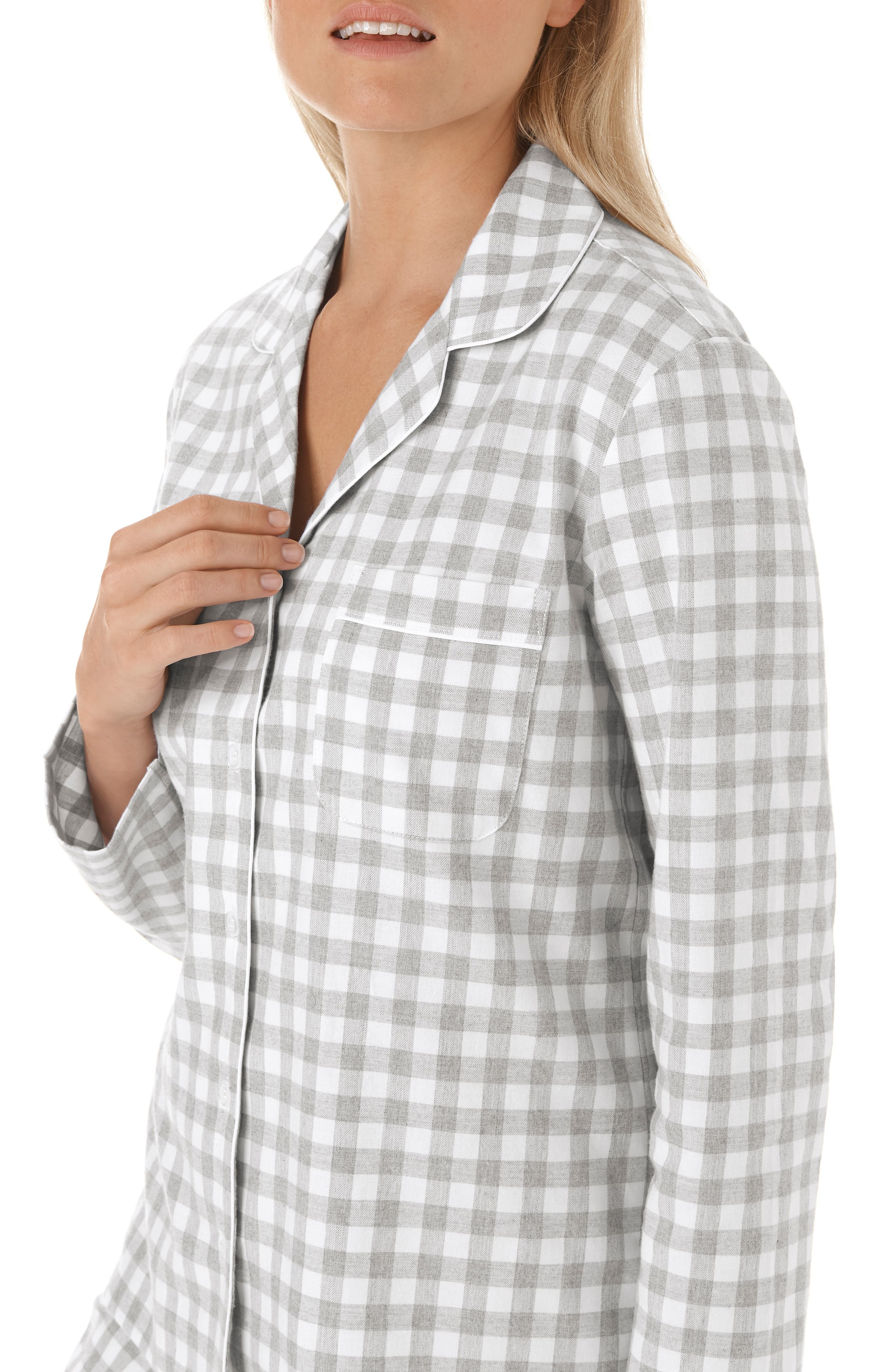 Gingham Check Pajamas,                             Alternate thumbnail 4, color,                             GREY/ WHITE GINGHAM