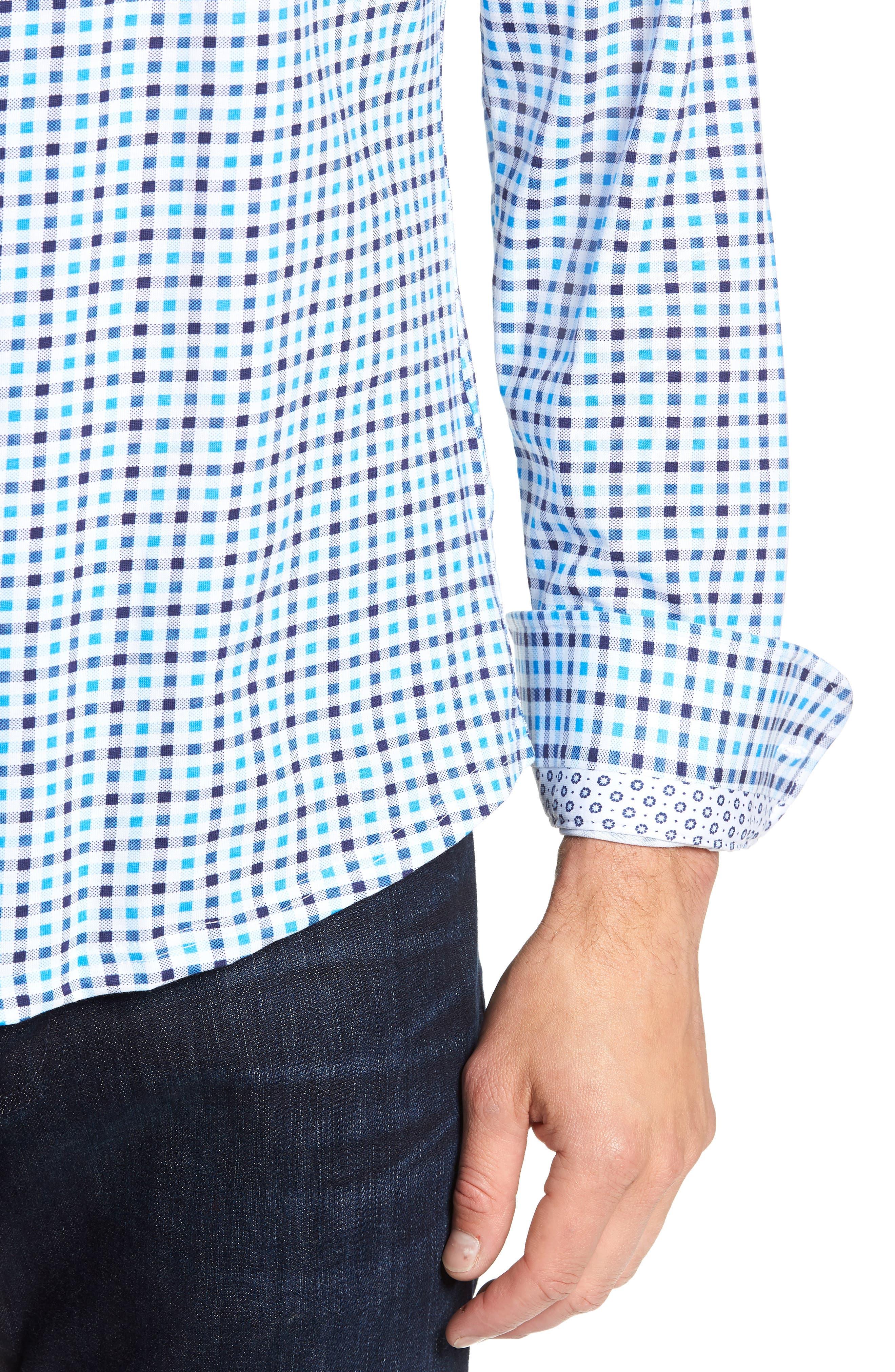 Trim Fit Knit Sport Shirt,                             Alternate thumbnail 2, color,                             BLUE