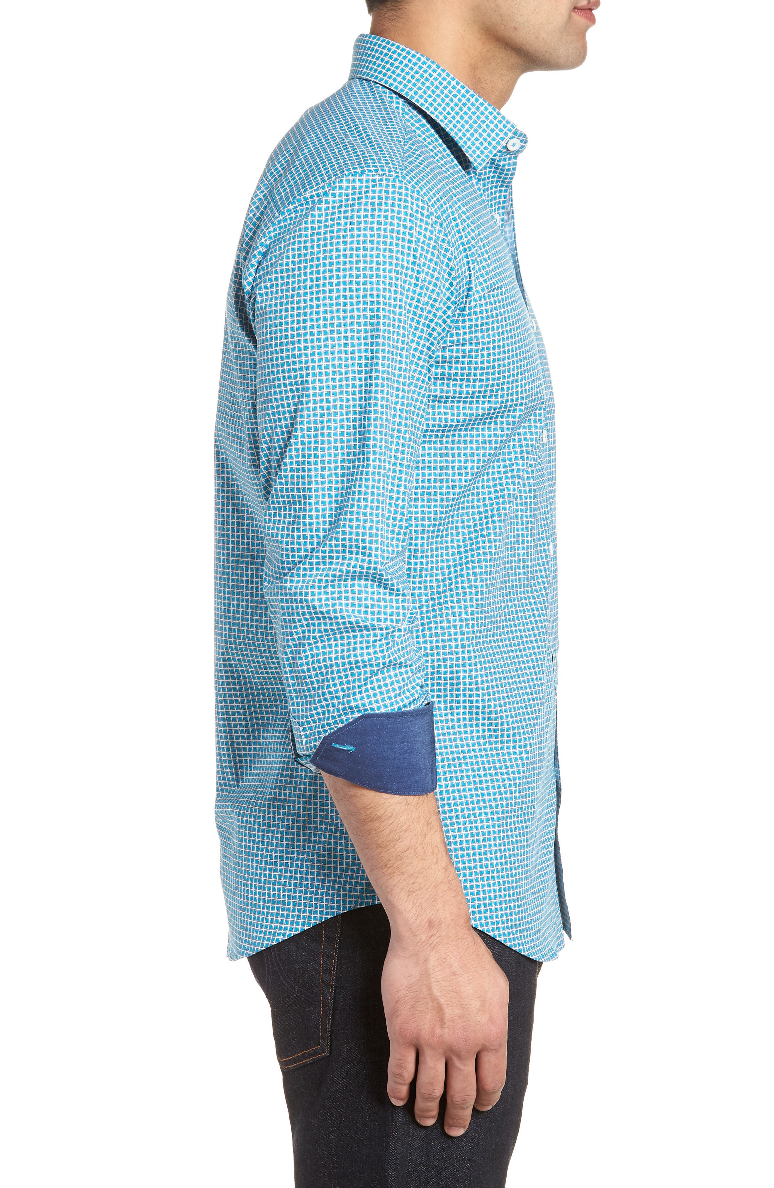 Shaped Fit Check Sport Shirt,                             Alternate thumbnail 3, color,                             TURQUOISE