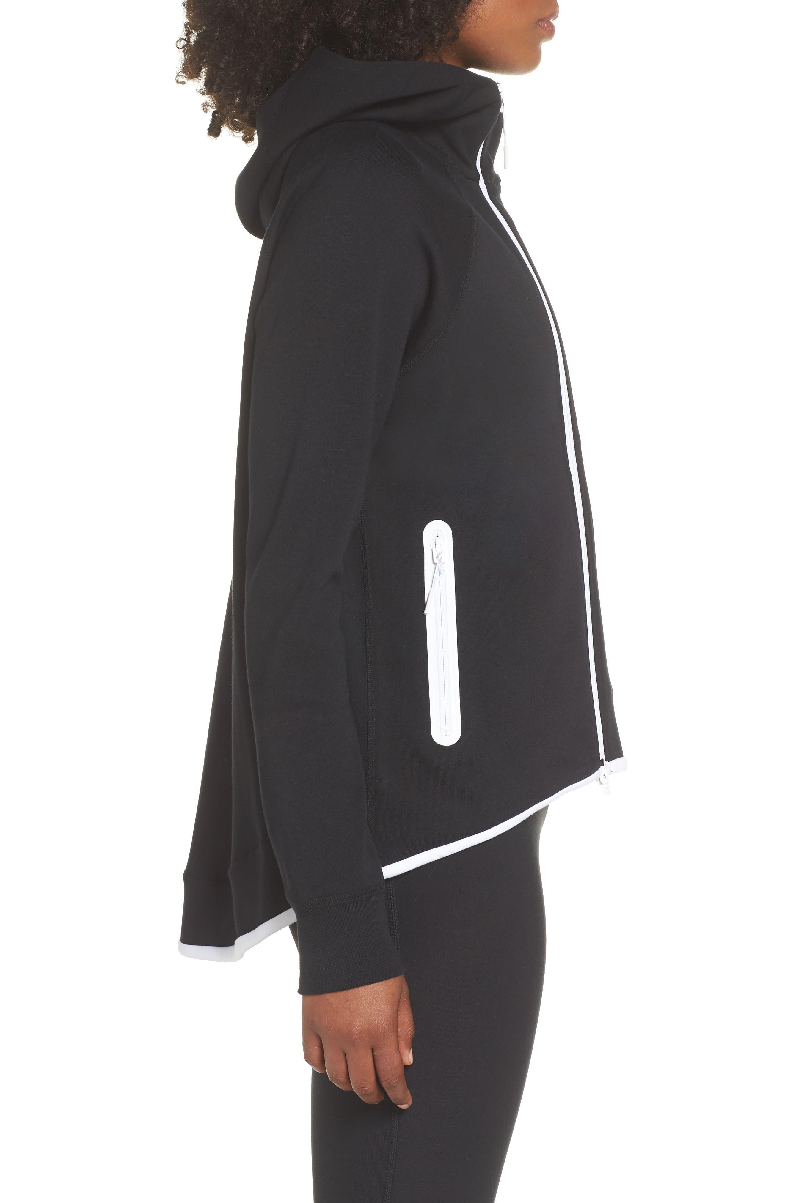 Sportswear Tech Fleece Cape Jacket,                             Alternate thumbnail 3, color,                             BLACK/ WHITE
