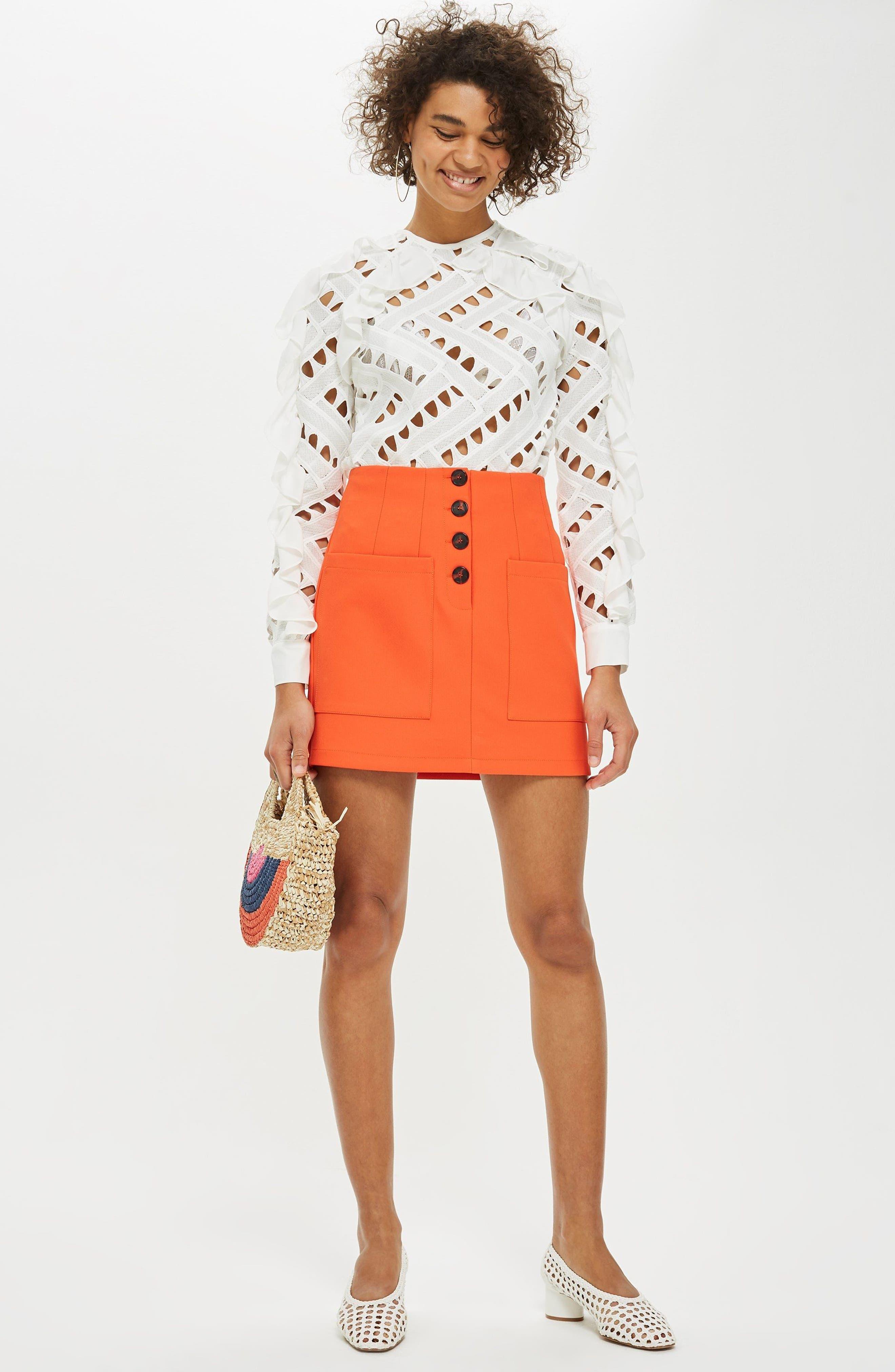 Pocket Button Miniskirt,                             Alternate thumbnail 4, color,                             800