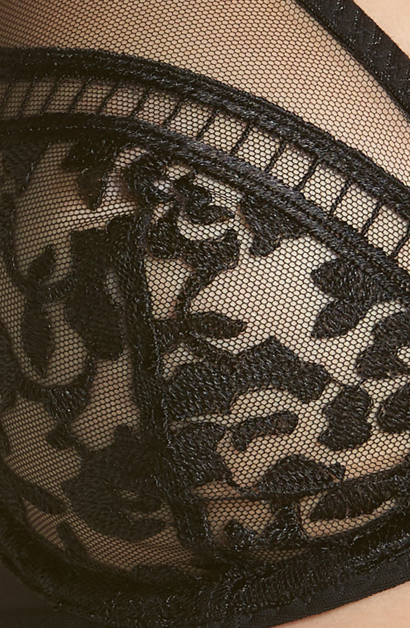 'Byzance' Underwire Plunge Bra,                             Alternate thumbnail 6, color,                             BLACK