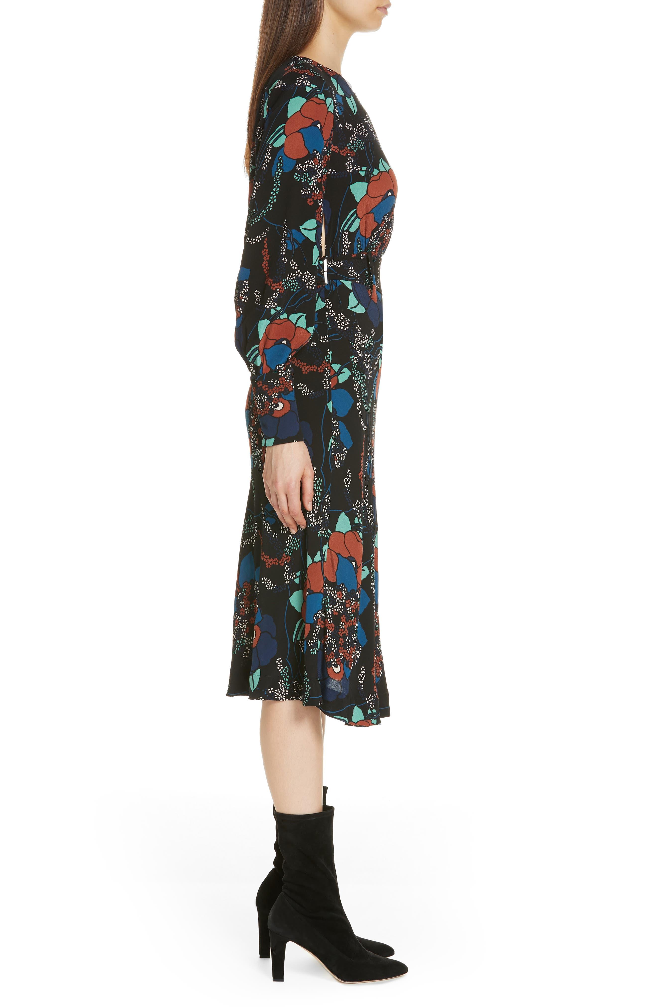 Abelia Floral Plunge Back Silk Dress,                             Alternate thumbnail 3, color,                             NOIR