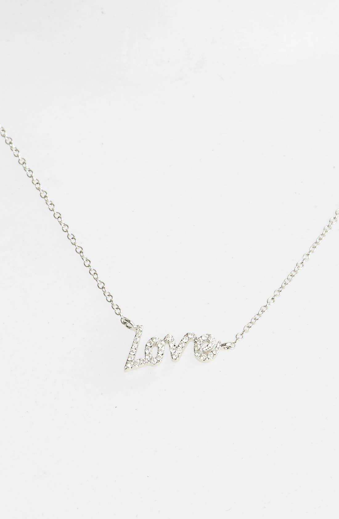 MeiraT Dazzling Diamond Love Pendant Necklace,                             Main thumbnail 1, color,                             WHITE GOLD