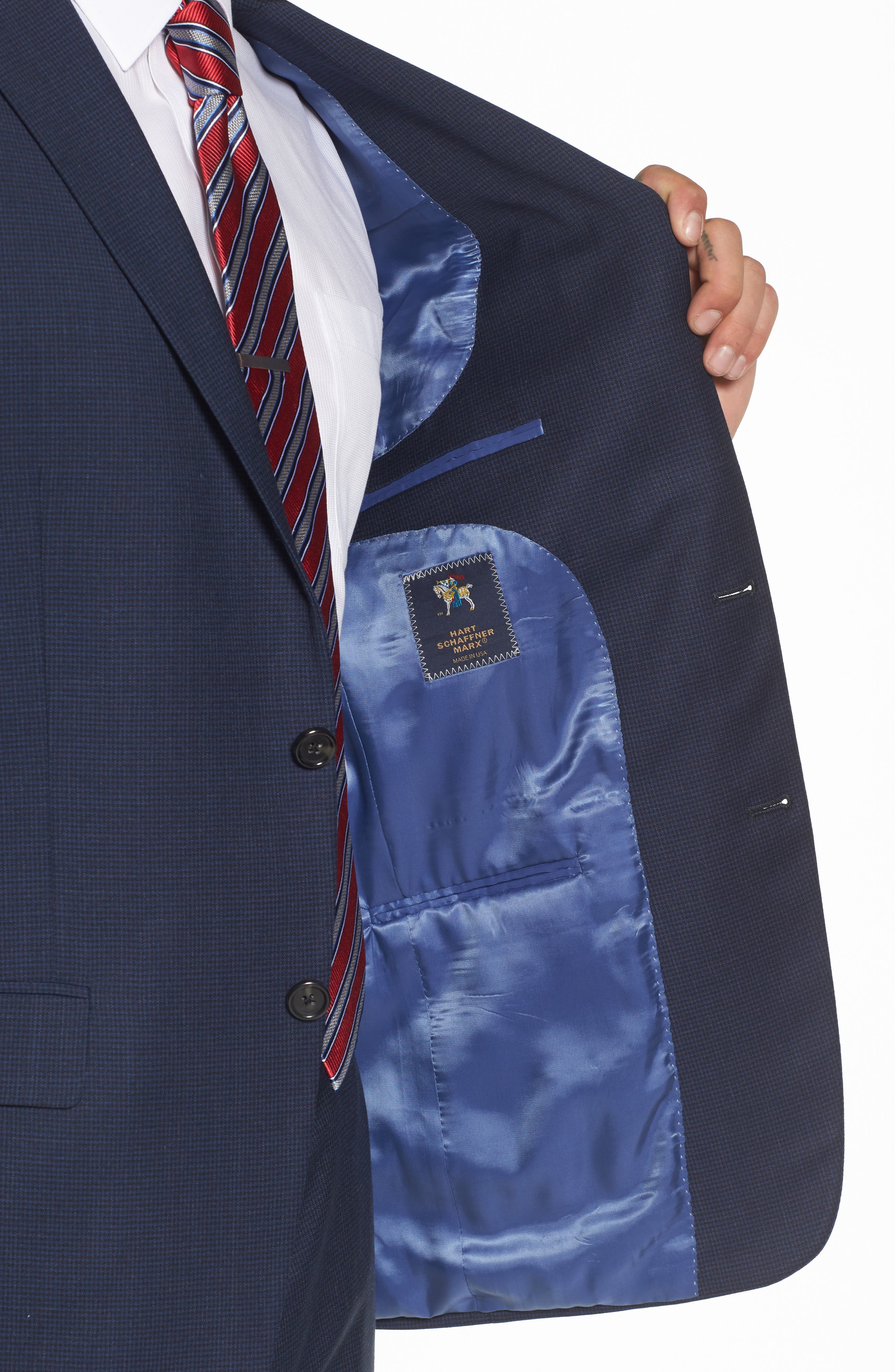 Classic Fit Check Stretch Wool Suit,                             Alternate thumbnail 4, color,                             401