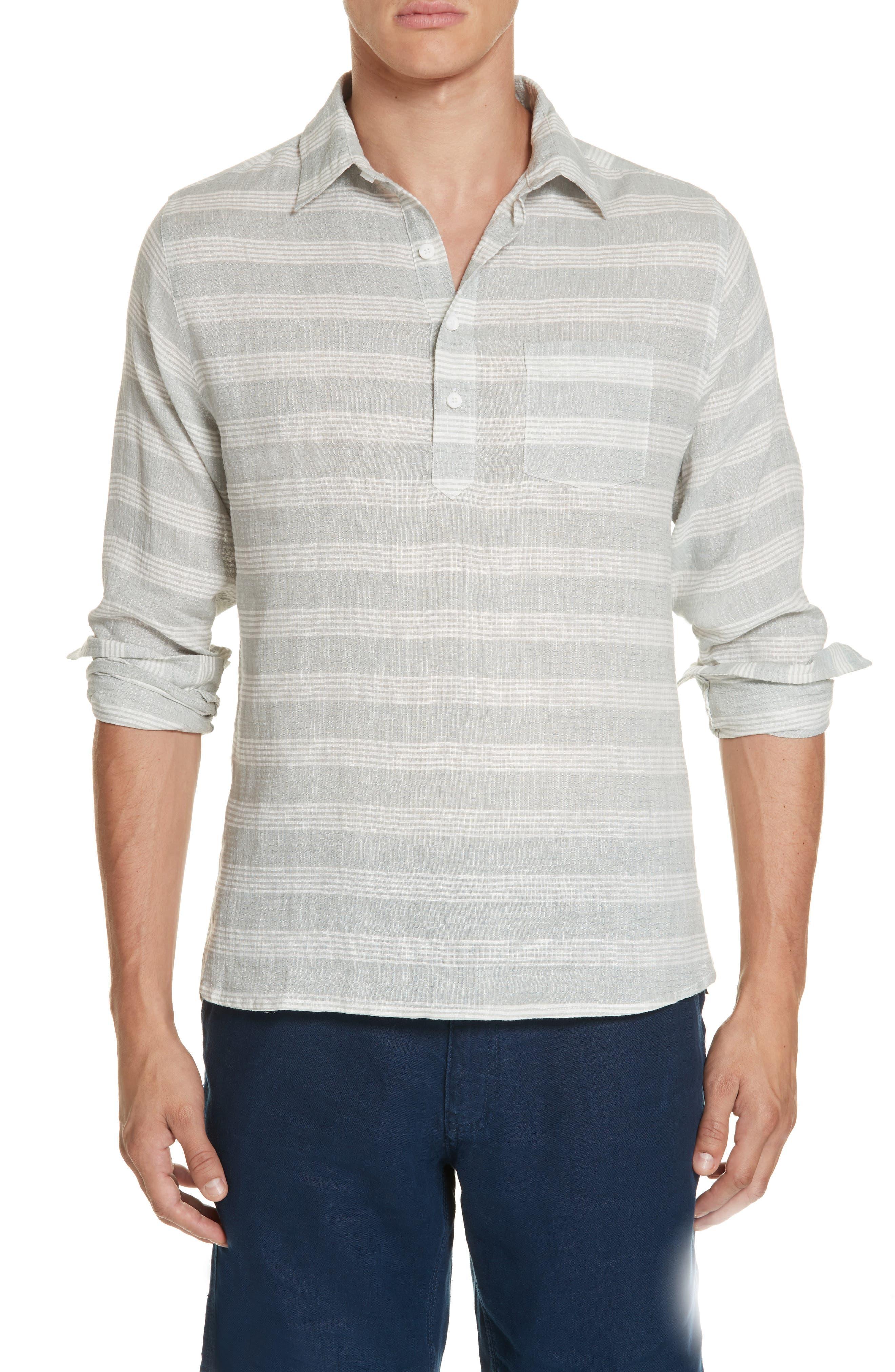 Chambray Stripe Pullover Woven Shirt,                         Main,                         color, GREY