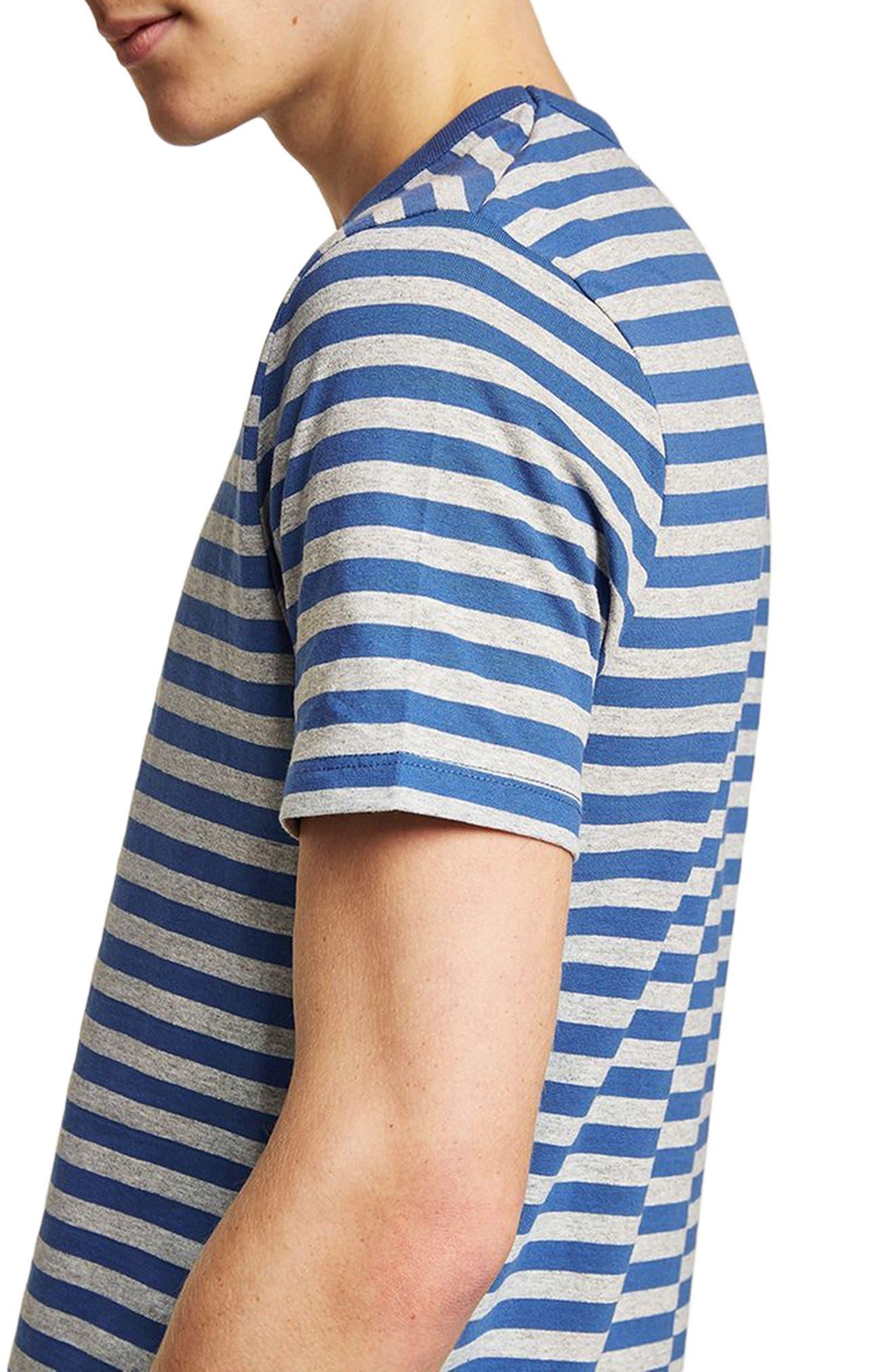 Slim Fit Stripe T-Shirt,                             Alternate thumbnail 3, color,                             MID BLUE MULTI