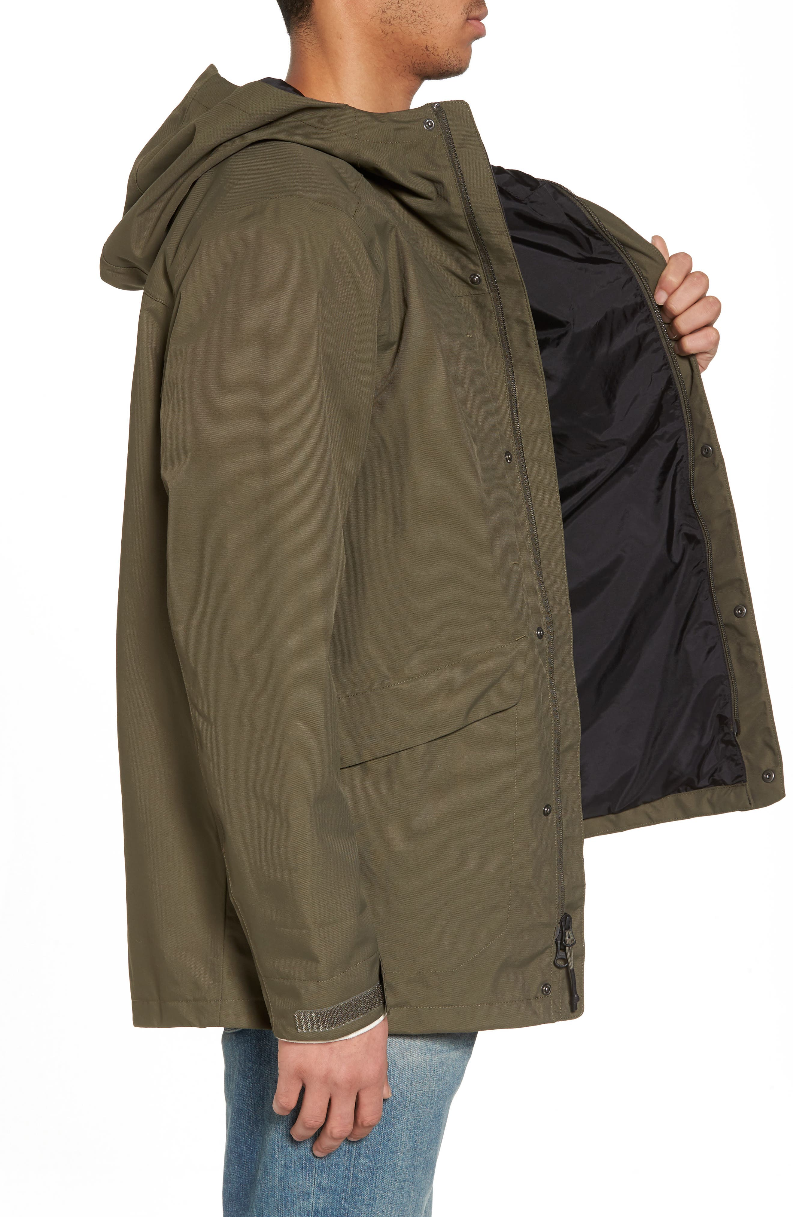 El Misti Trench II Hooded Jacket,                             Alternate thumbnail 3, color,                             NEW TAUPE GREEN