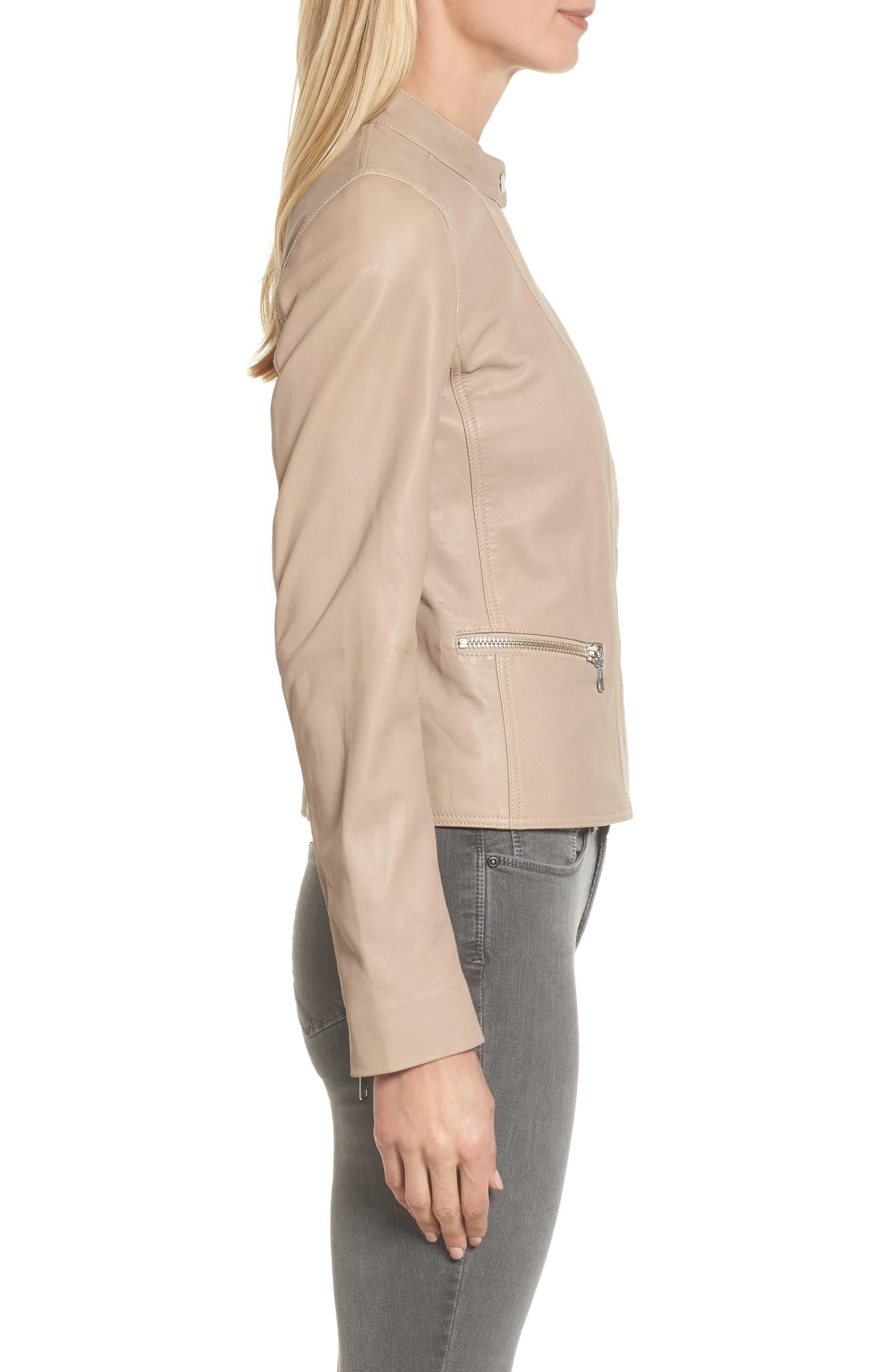 Leather Moto Jacket,                             Alternate thumbnail 6, color,
