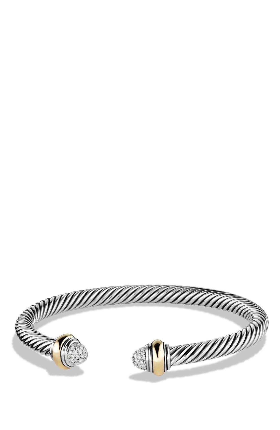 Cable Classics Bracelet with Diamonds & 14K Gold, 5mm,                             Main thumbnail 1, color,                             DIAMOND