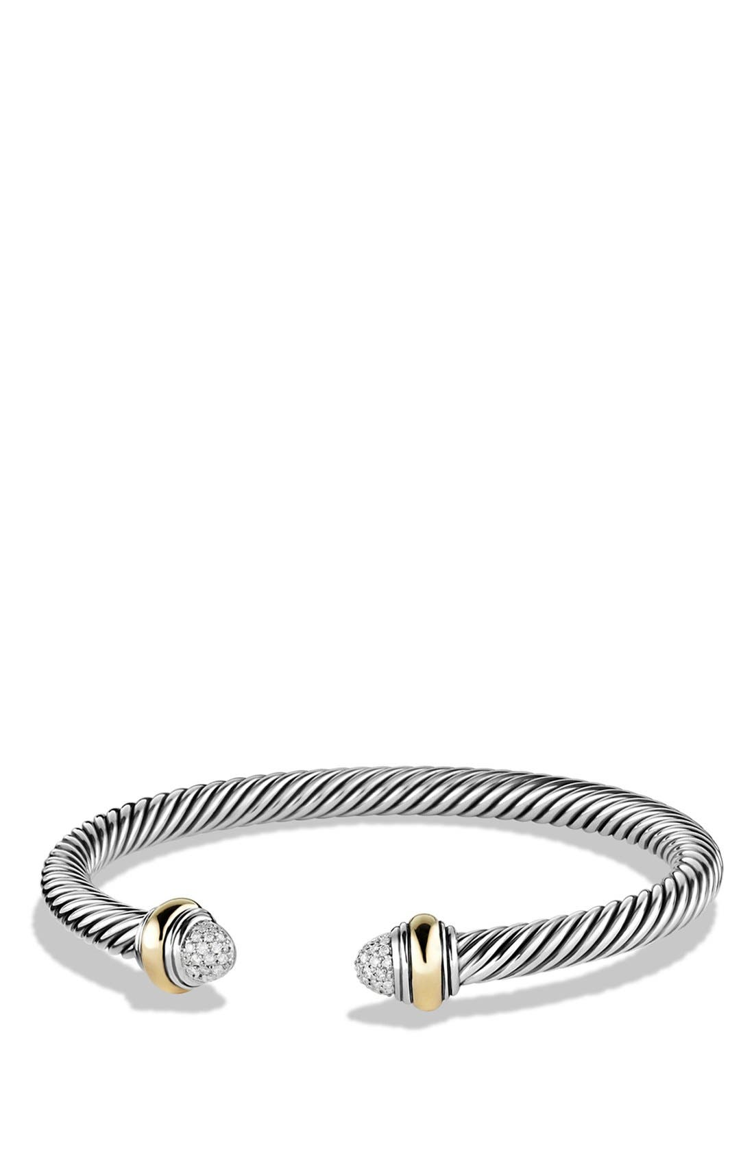 DAVID YURMAN Cable Classics Bracelet with Diamonds & 14K Gold, 5mm, Main, color, DIAMOND