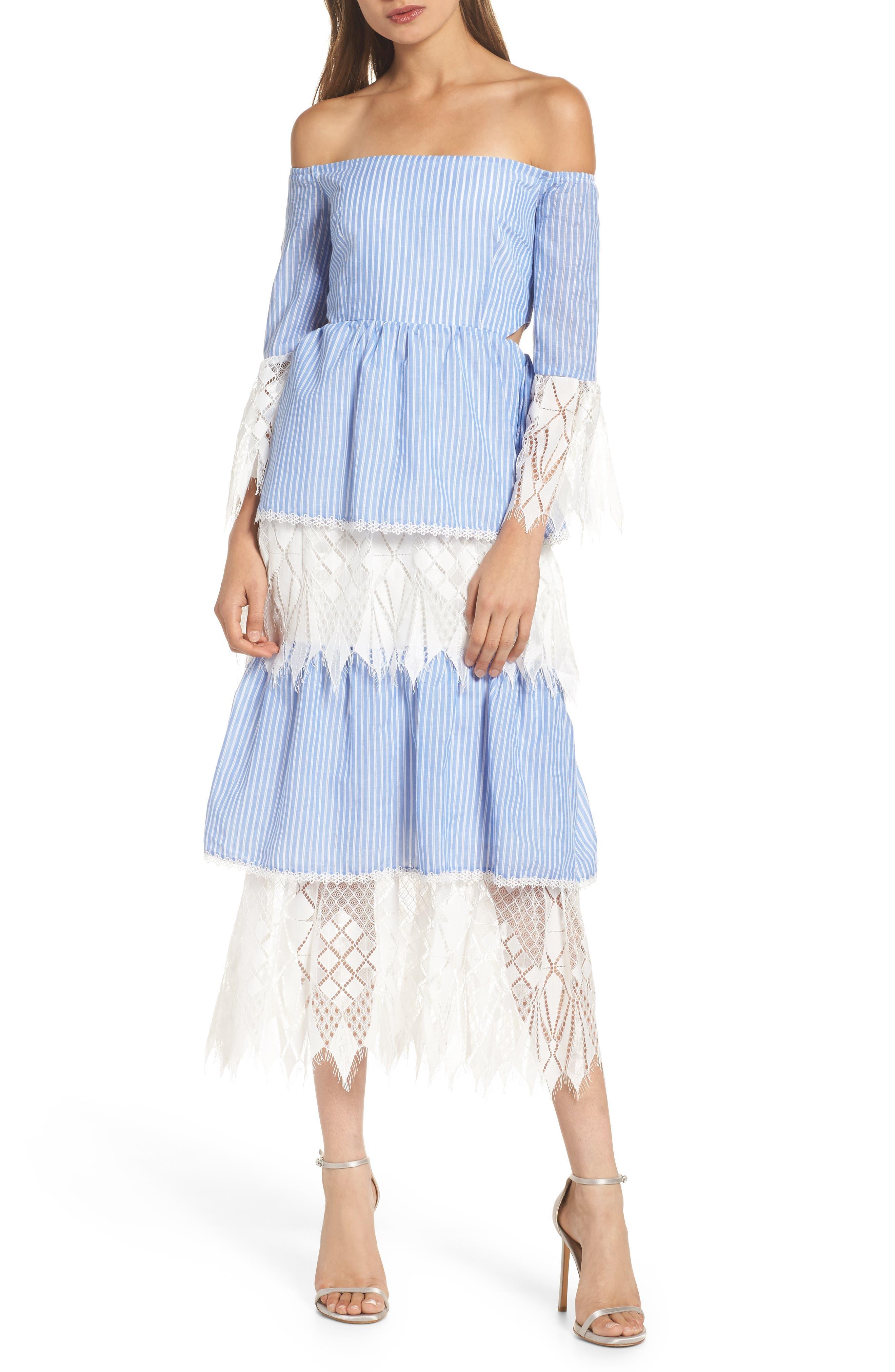Addison Lace Tier Off the Shoulder Midi Dress,                             Main thumbnail 1, color,                             434