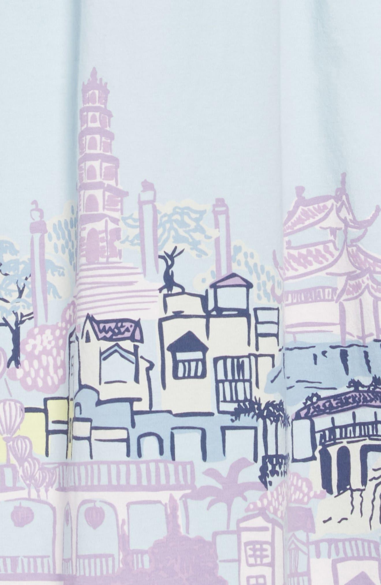 TEA COLLECTION,                             City Graphic Trapeze Dress,                             Alternate thumbnail 3, color,                             SKY