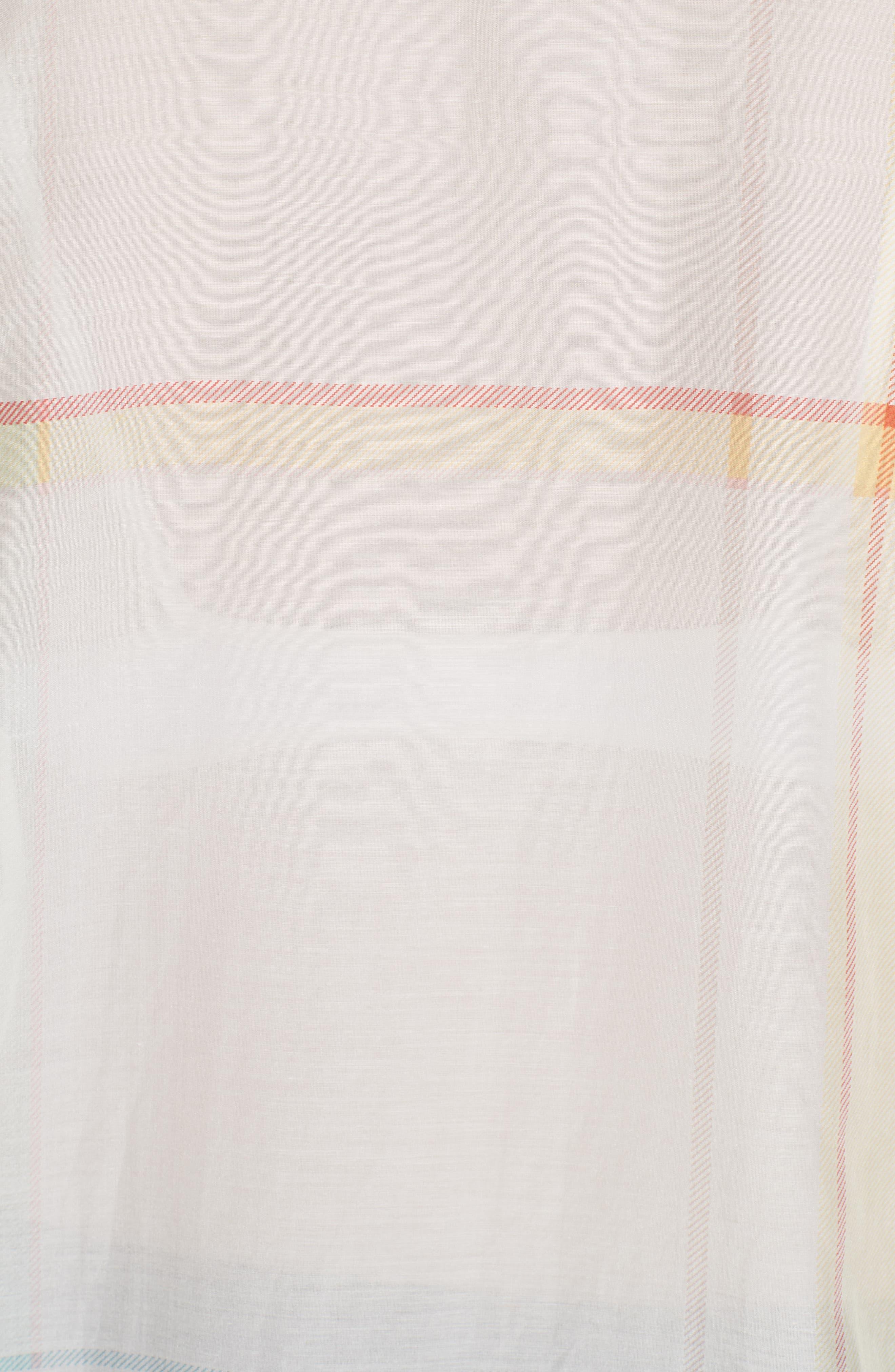 Essential Plaid Cotton & Silk Shirt,                             Alternate thumbnail 5, color,                             NATURE WHITE MULTI