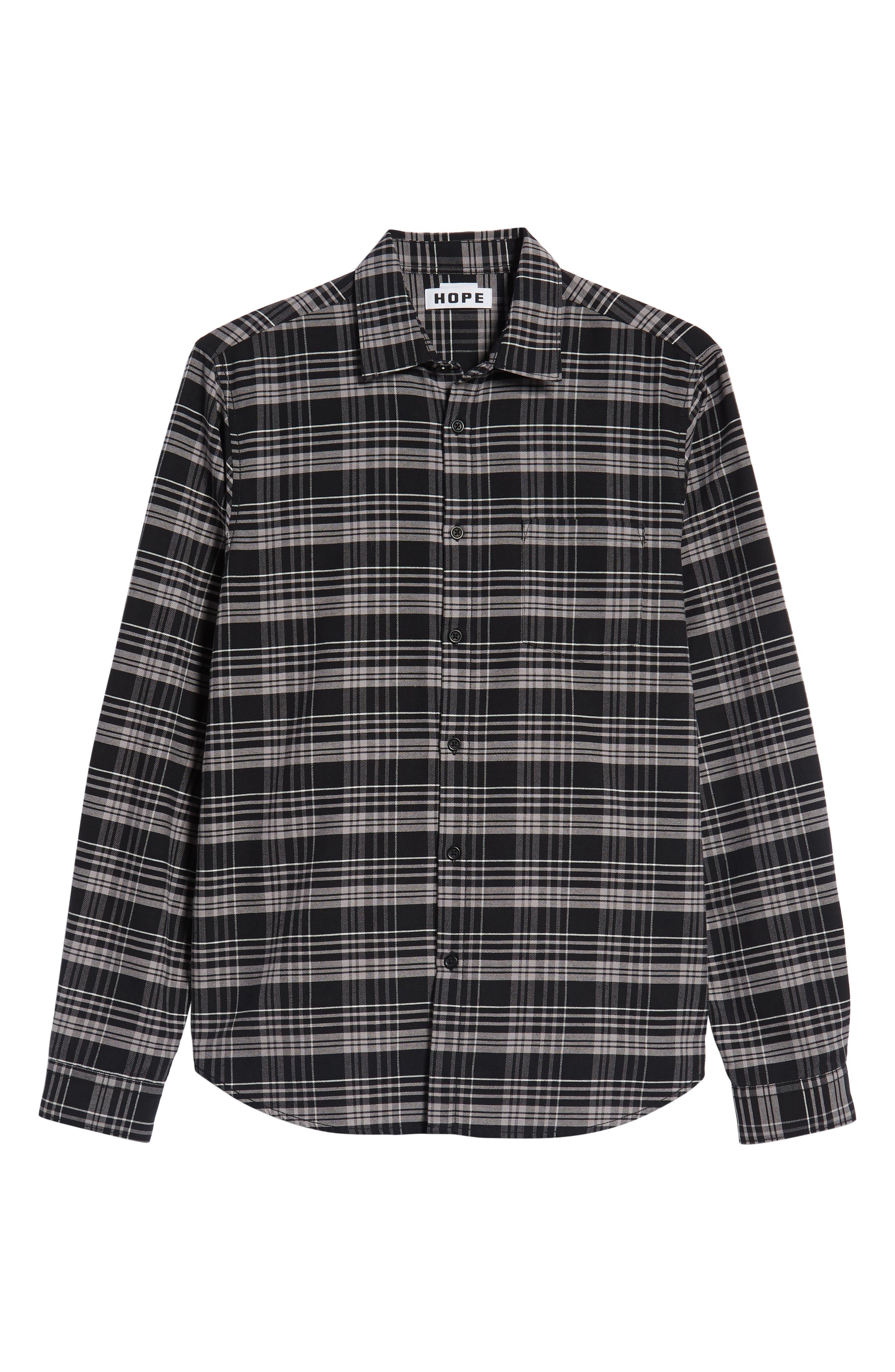 Roy Plaid Sport Shirt,                             Alternate thumbnail 5, color,                             BLACK CHECK