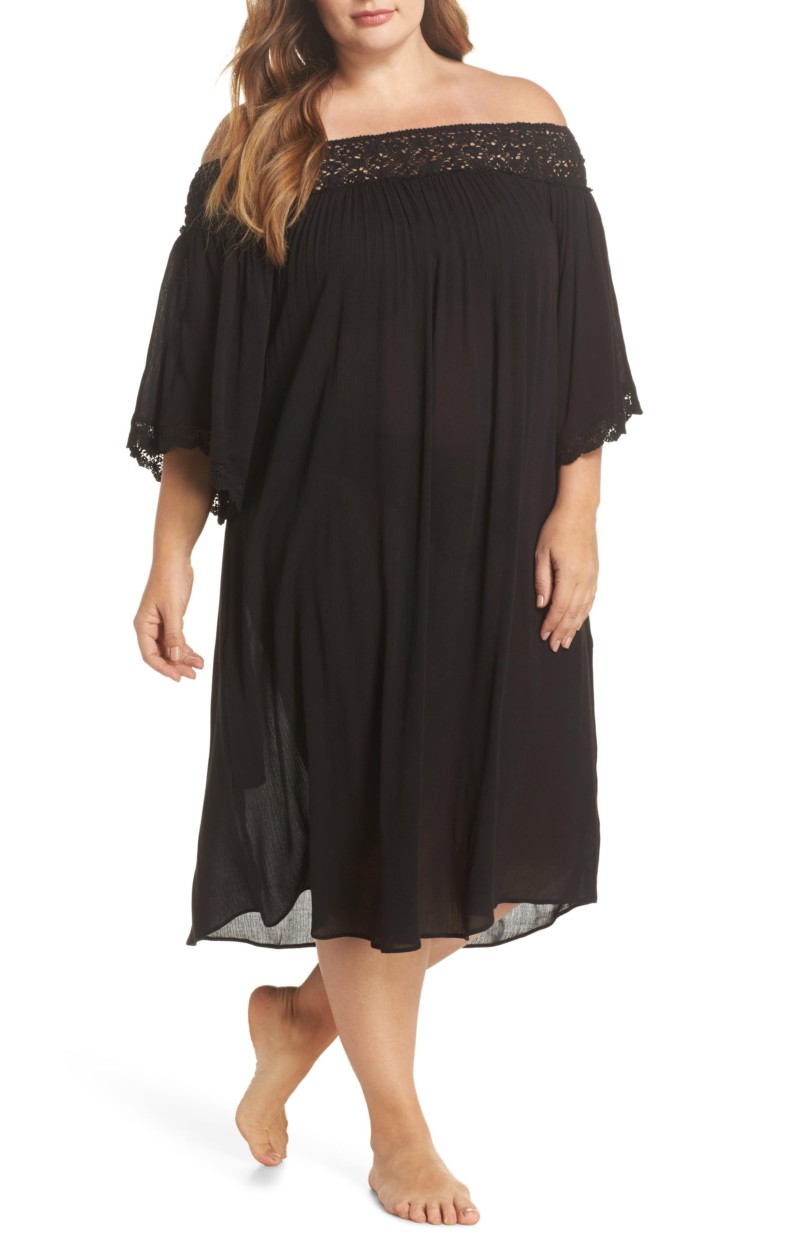 Rimini Crochet Cover-Up Dress,                         Main,                         color, 001