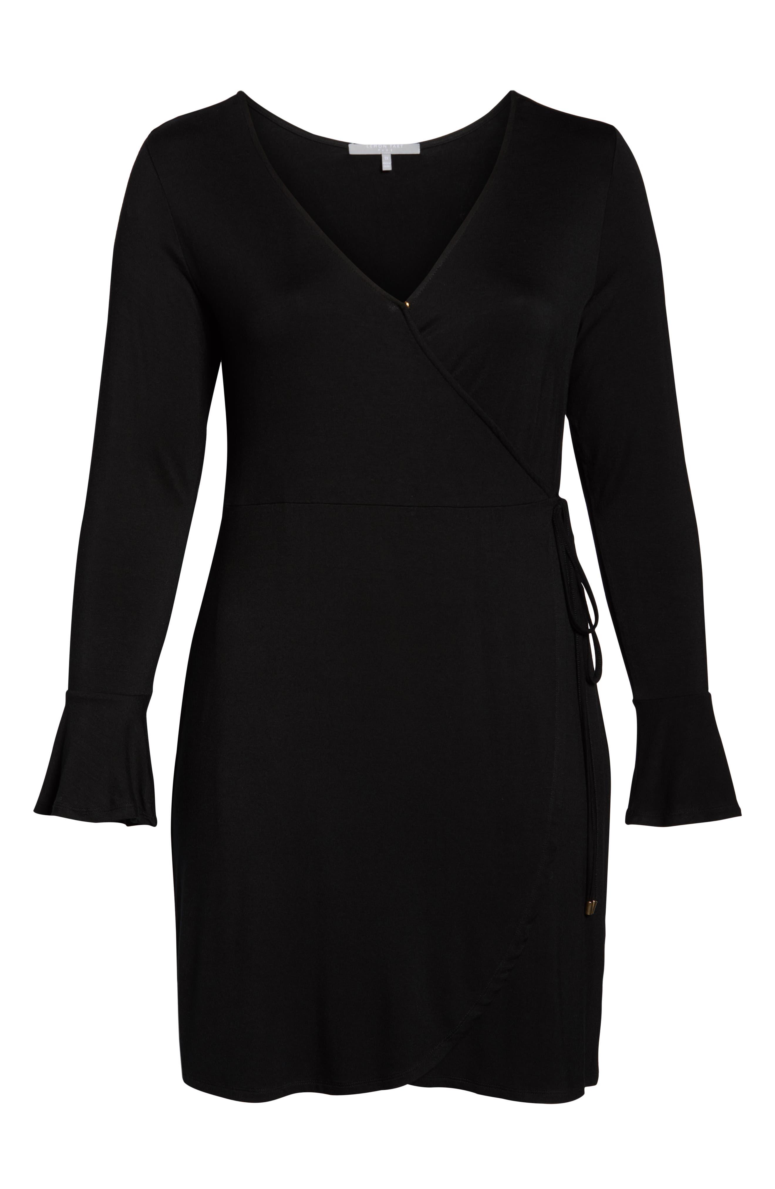 Casey Faux Wrap Dress,                             Alternate thumbnail 7, color,                             BLACK