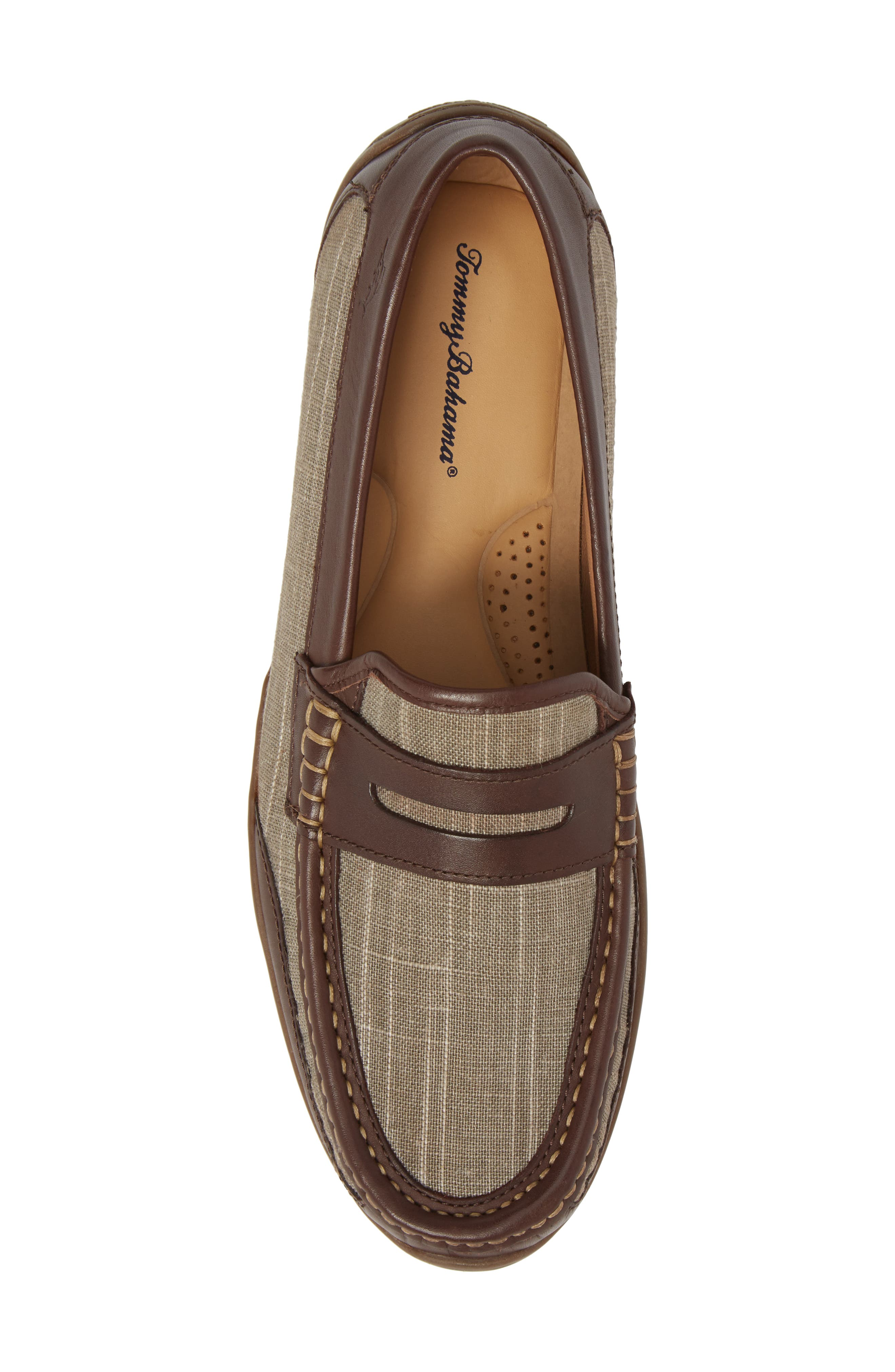 Taza Fronds Driving Shoe,                             Alternate thumbnail 5, color,                             BROWN/ OLIVE LEATHER/ LINEN