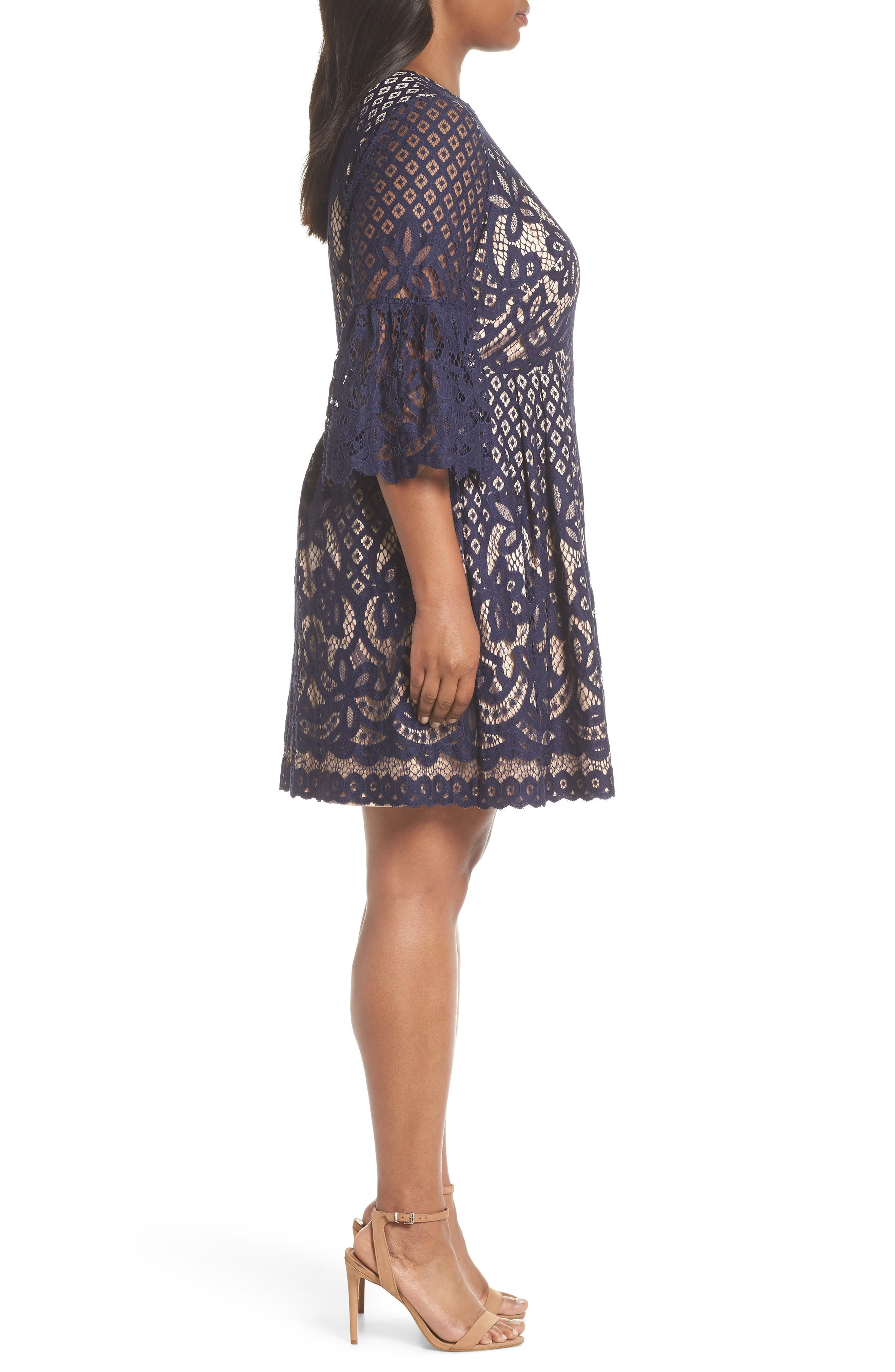 Bell Sleeve Lace Fit & Flare Dress,                             Alternate thumbnail 3, color,                             NAVY