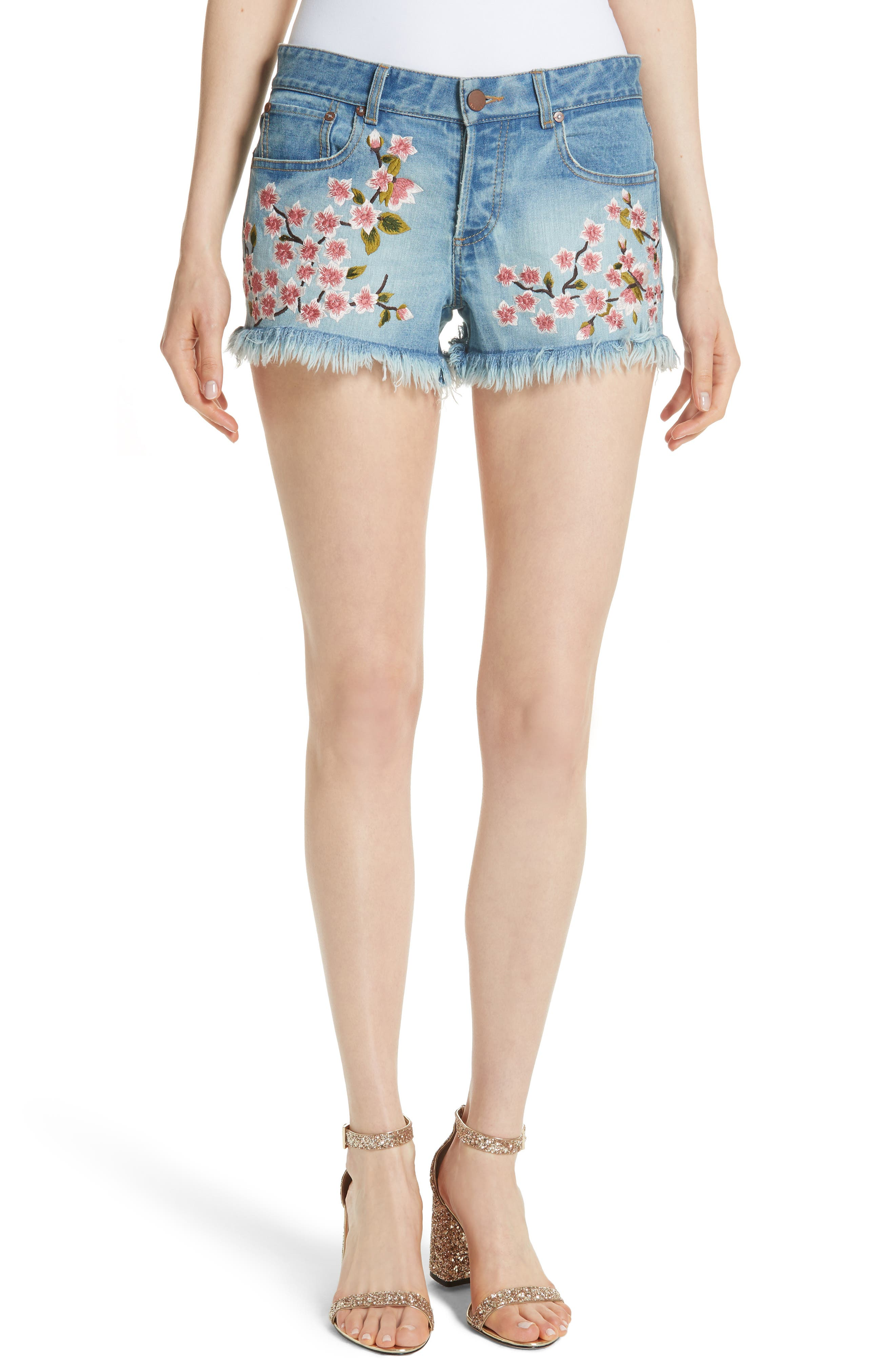 Embroidered Denim Shorts,                             Main thumbnail 1, color,                             SWEET EMOTION/ MULTI
