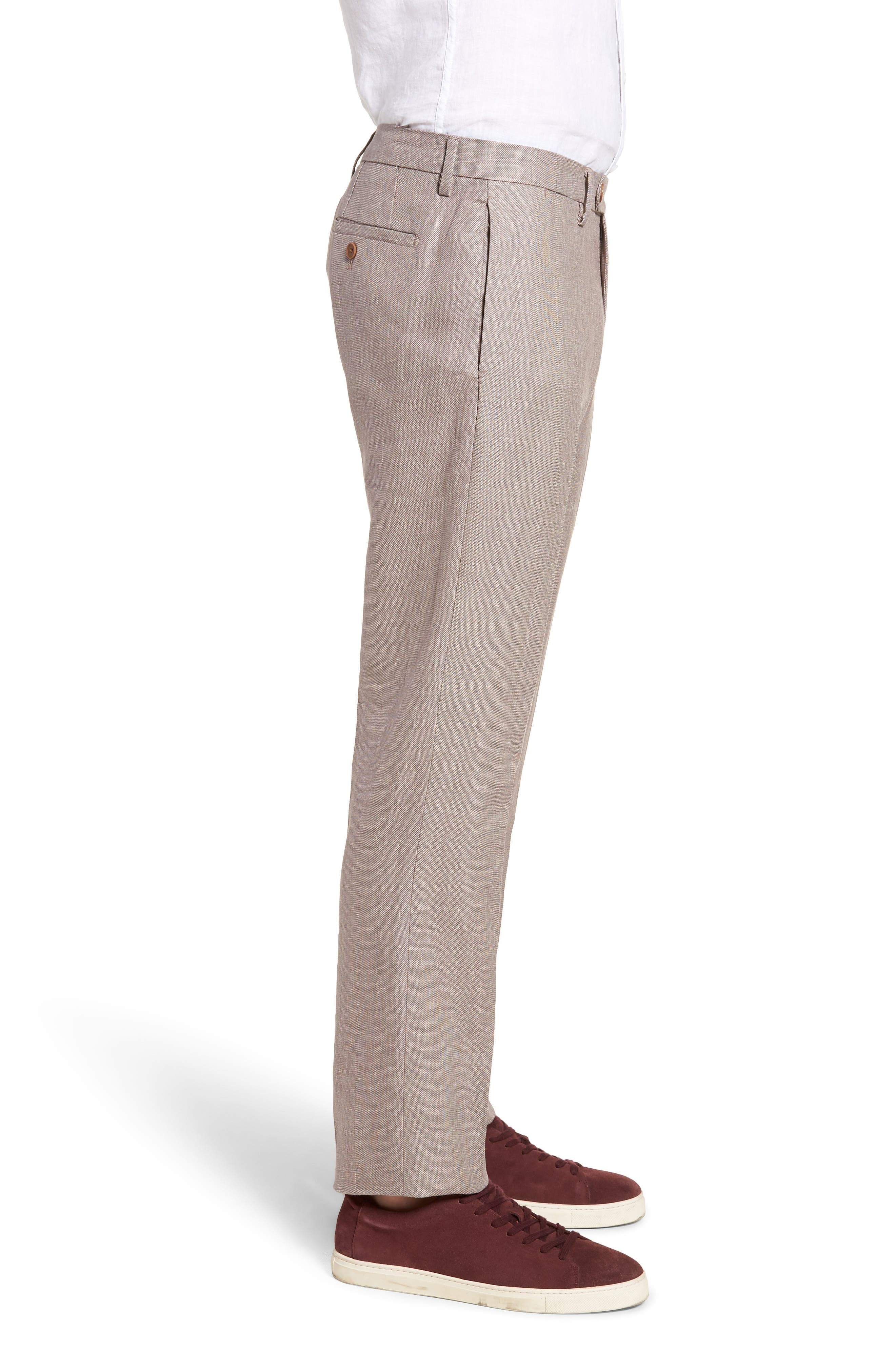 Flat Front Solid Stretch Cotton & Linen Pants,                             Alternate thumbnail 6, color,
