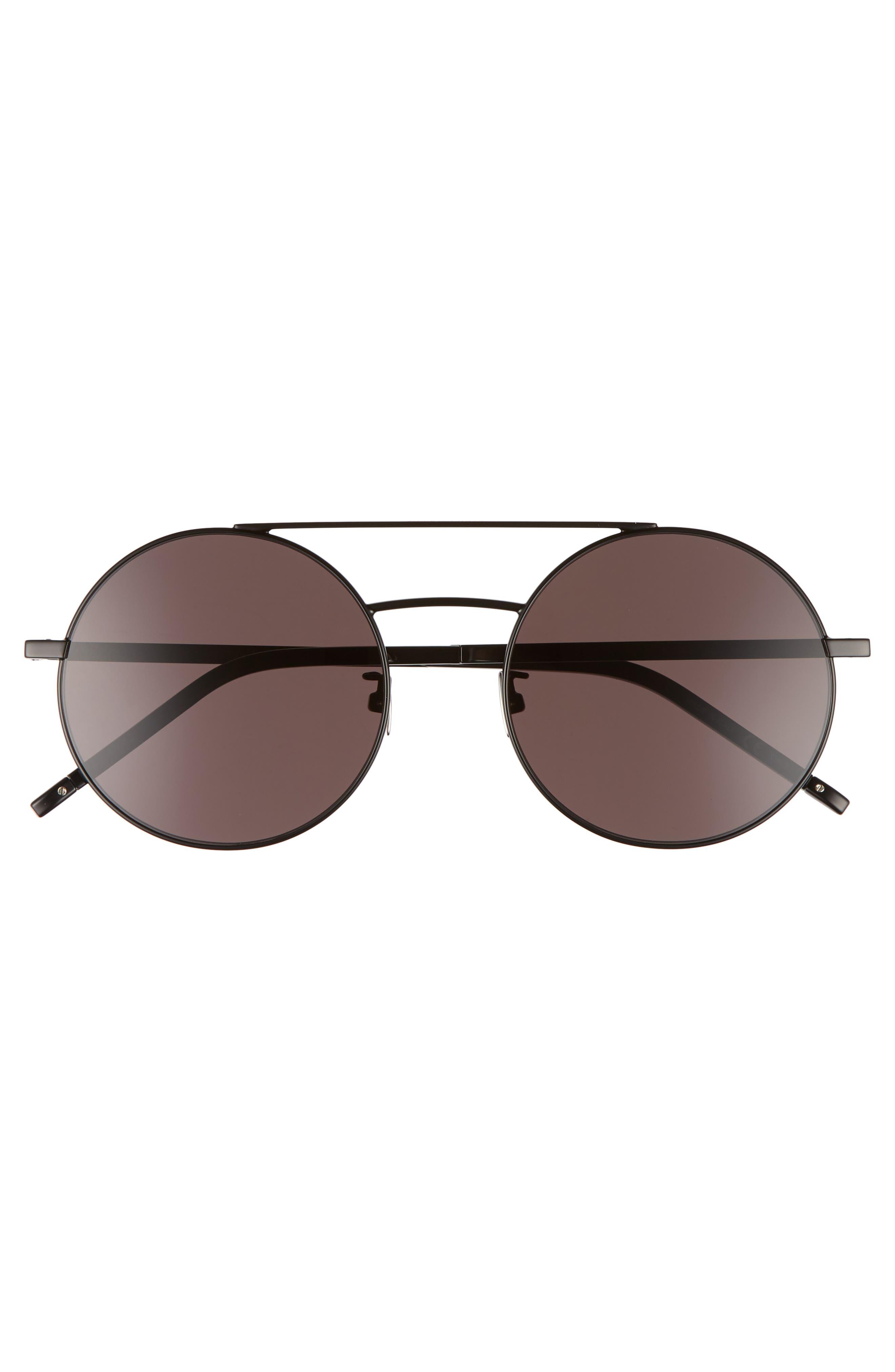 SL 210/F 56mm Round Aviator Sunglasses,                             Alternate thumbnail 2, color,                             BLACK