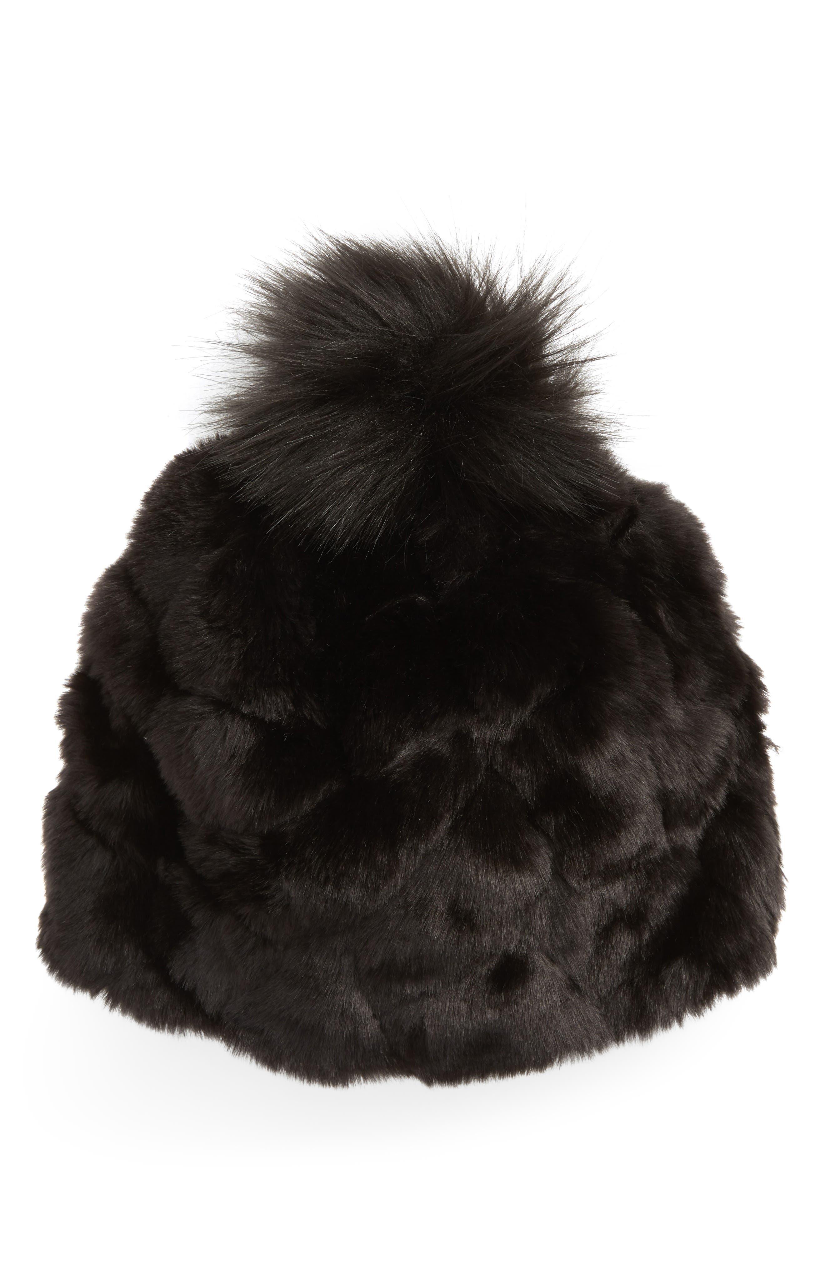 Faux Fur Hat,                         Main,                         color, BLACK
