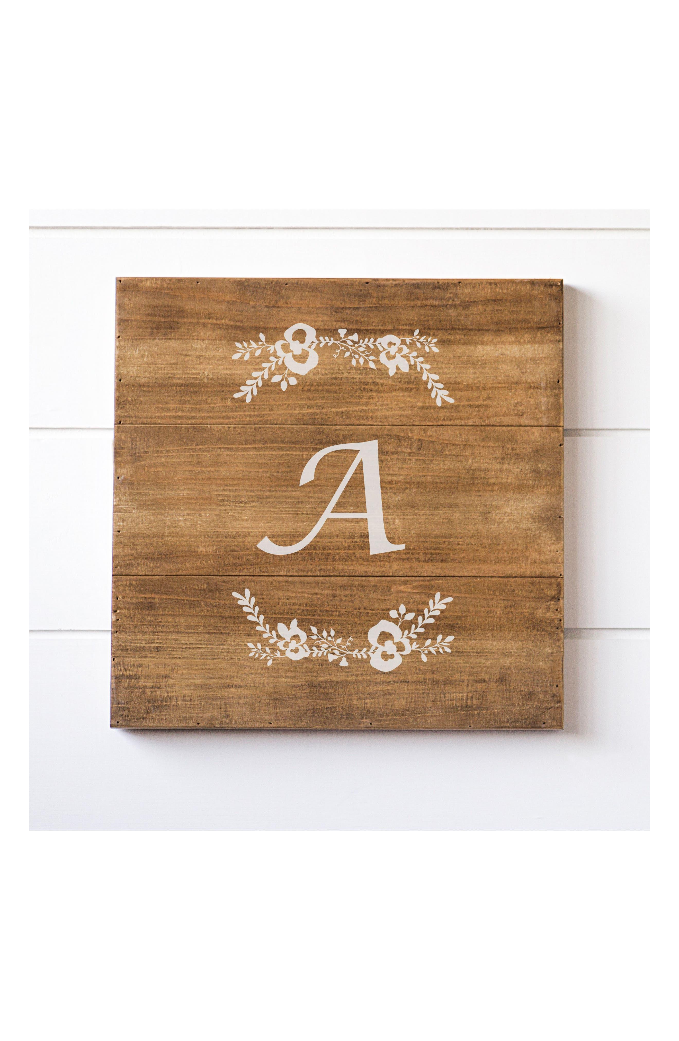 Monogram Rustic Wood Sign,                             Main thumbnail 1, color,                             A