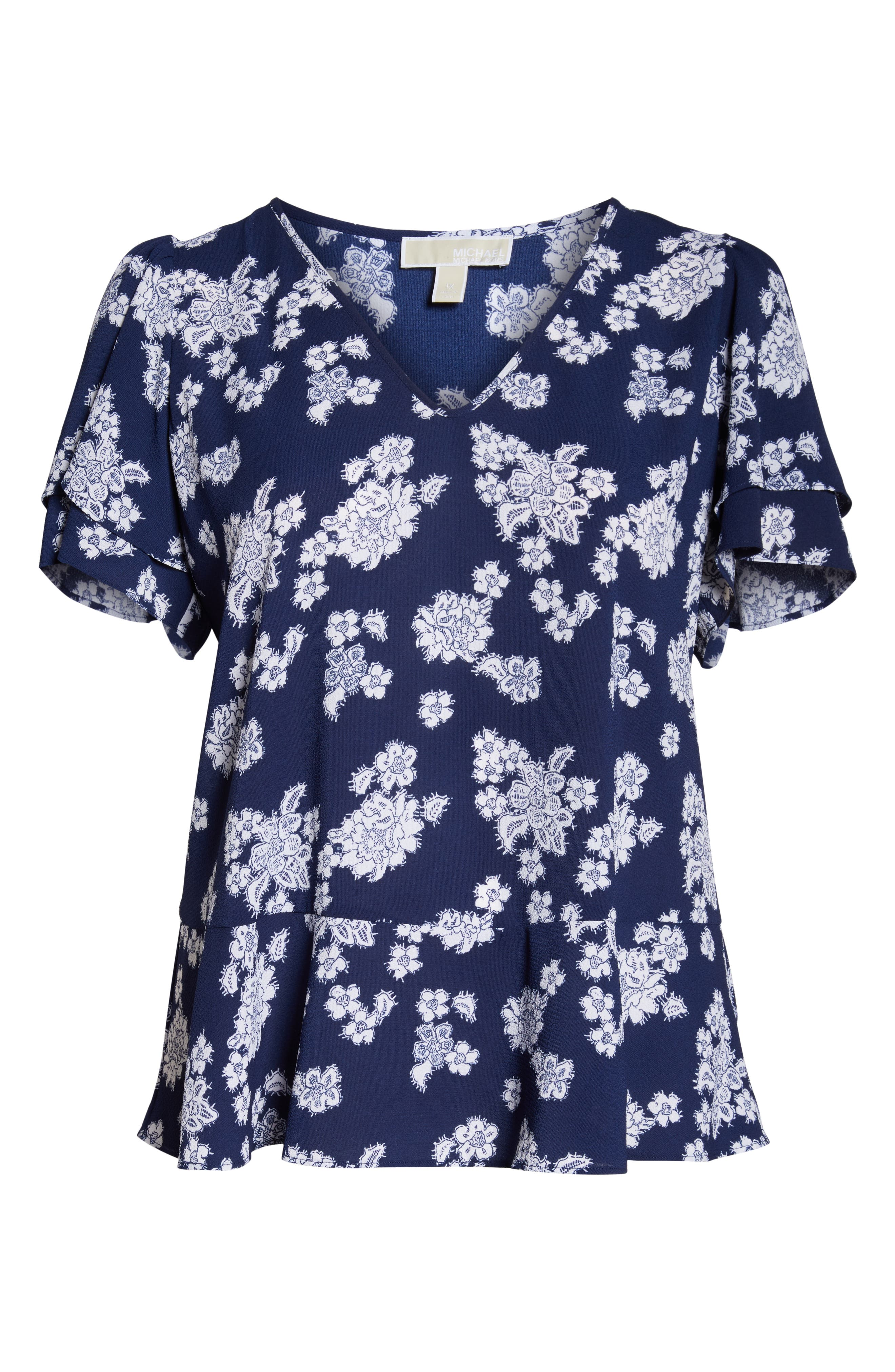 Tossed Lace Flowers Top,                             Alternate thumbnail 6, color,                             TRUE NAVY/ WHITE