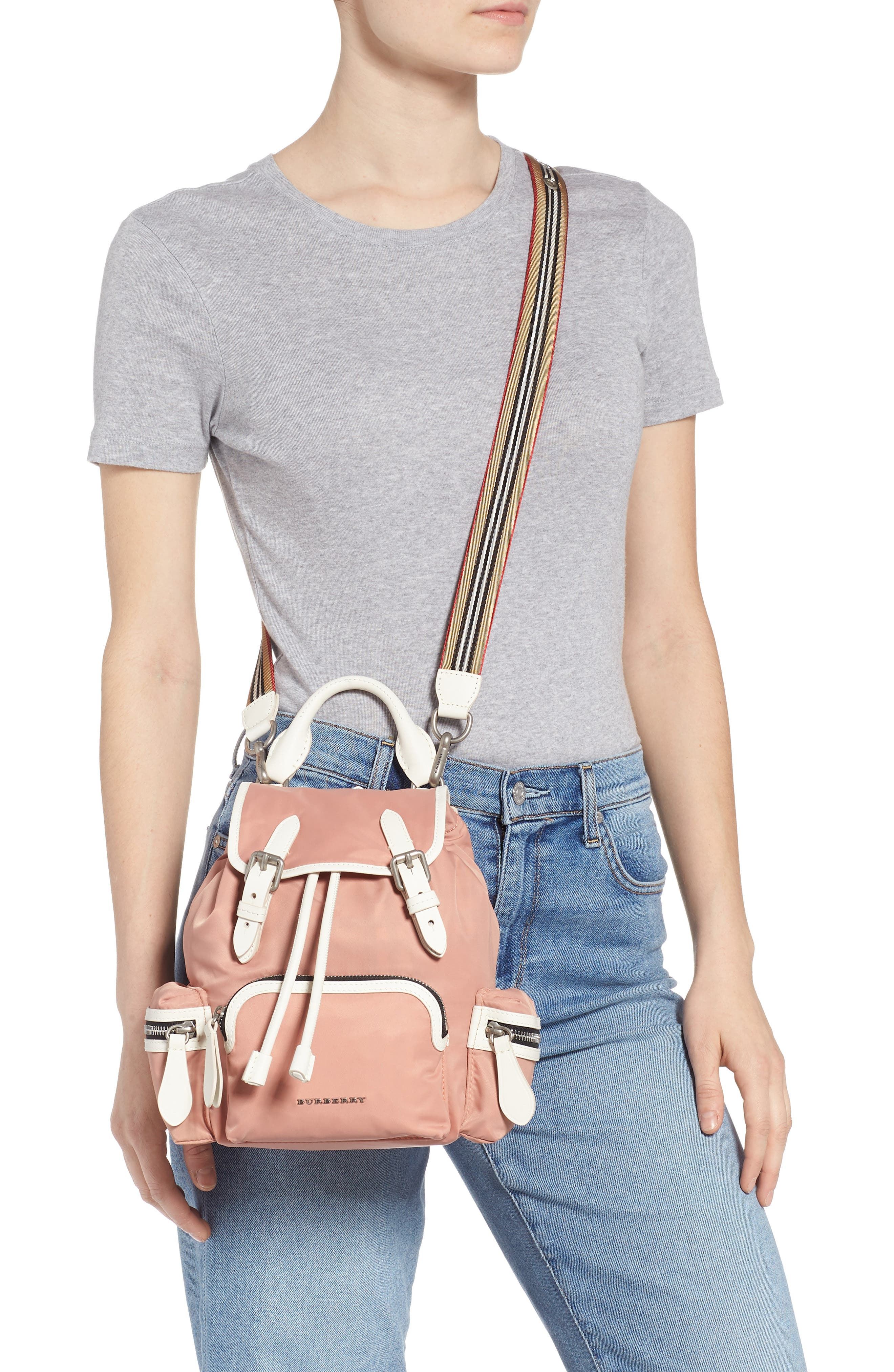 Small Rucksack Nylon Backpack,                             Alternate thumbnail 3, color,                             POWDER PINK