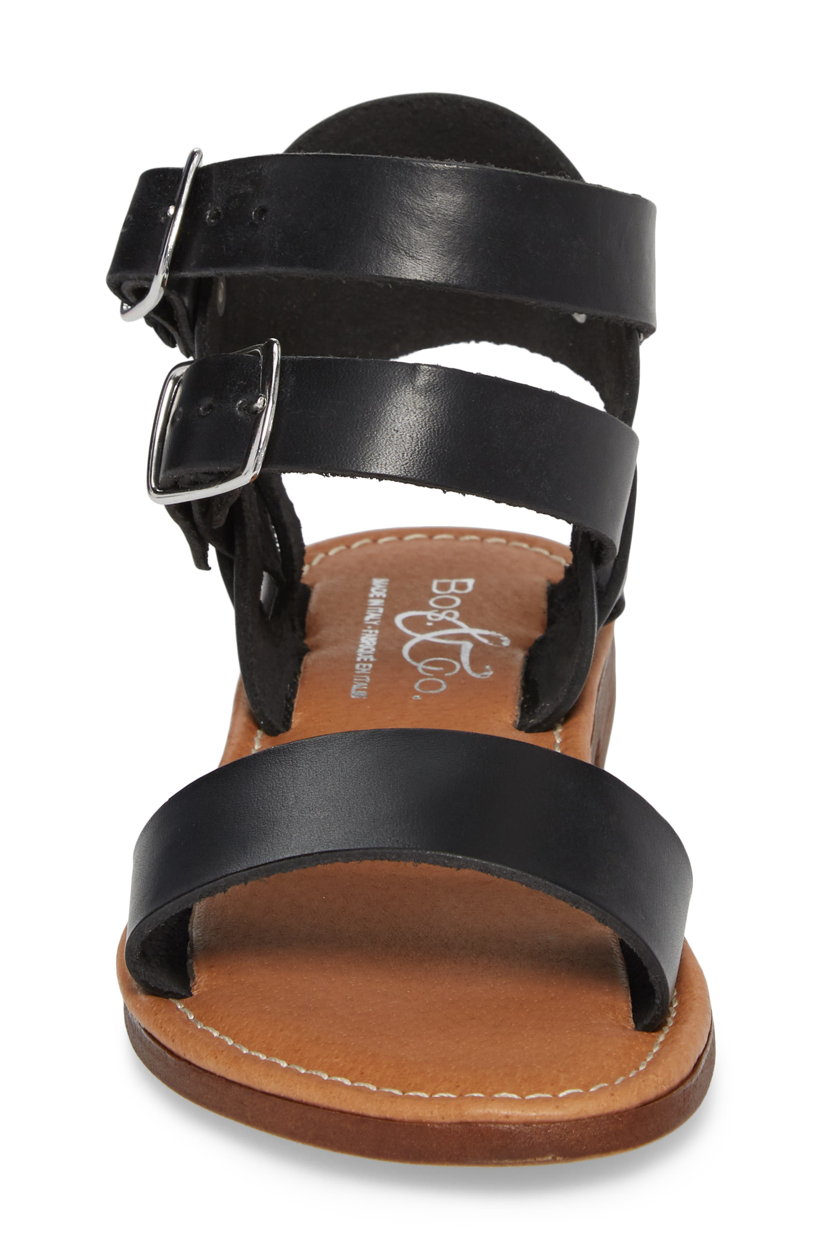 Ida Mid Top Sandal,                             Alternate thumbnail 4, color,                             BLACK VACCHETTA LEATHER