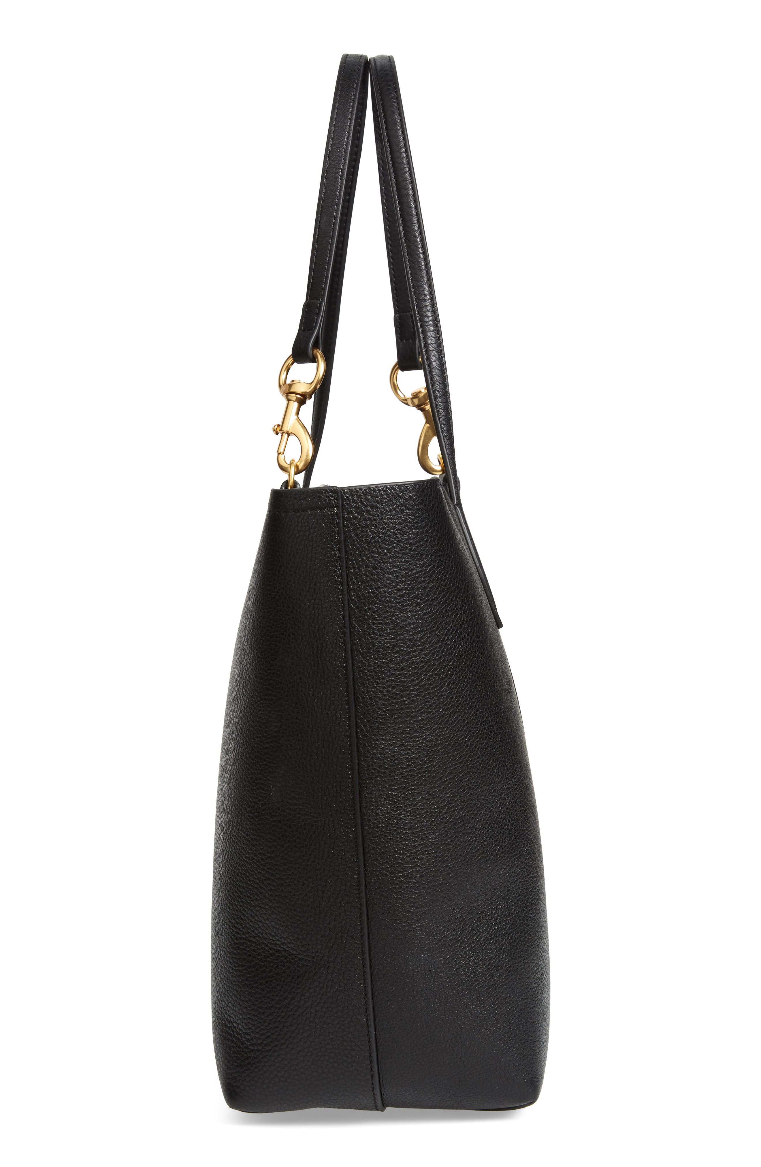 Sherry Dog Clip Leather Tote,                             Alternate thumbnail 5, color,                             BLACK/ TAUPE