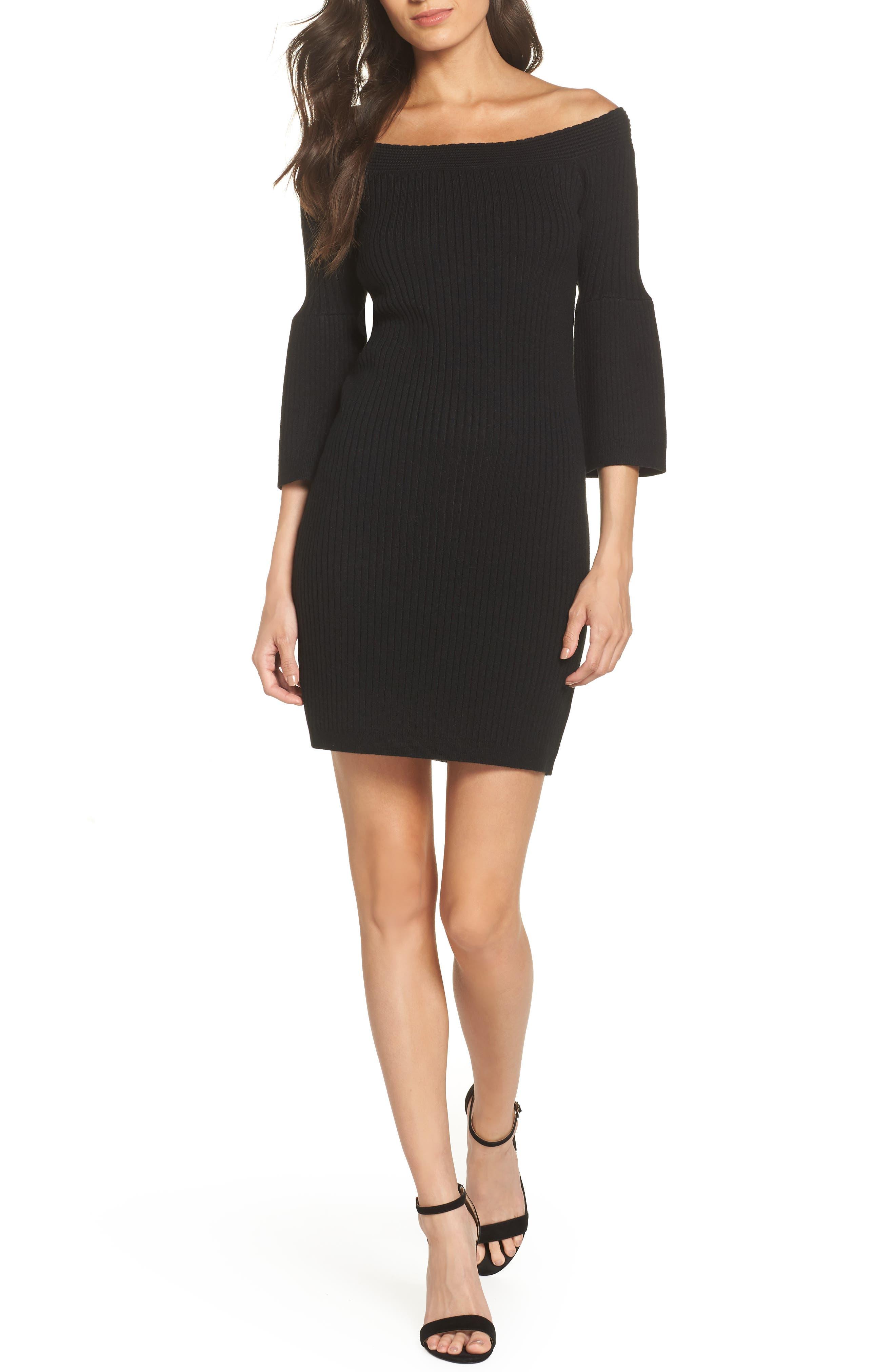 Bb Dakota Once Dance Off The Shoulder Sweater Dress, Black