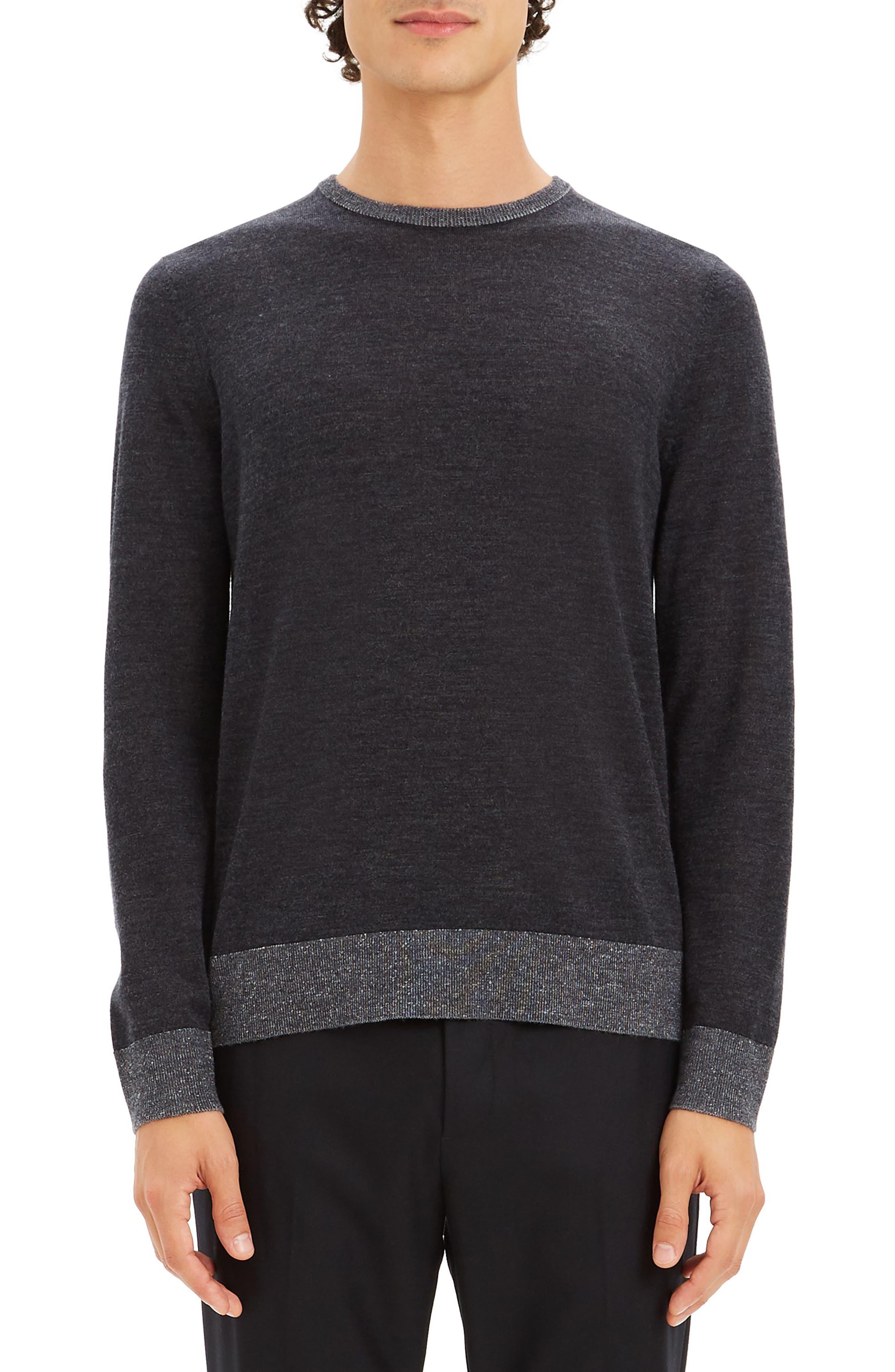 Theory Rothley Castellos Regular Fit Merino Wool Sweater, Grey