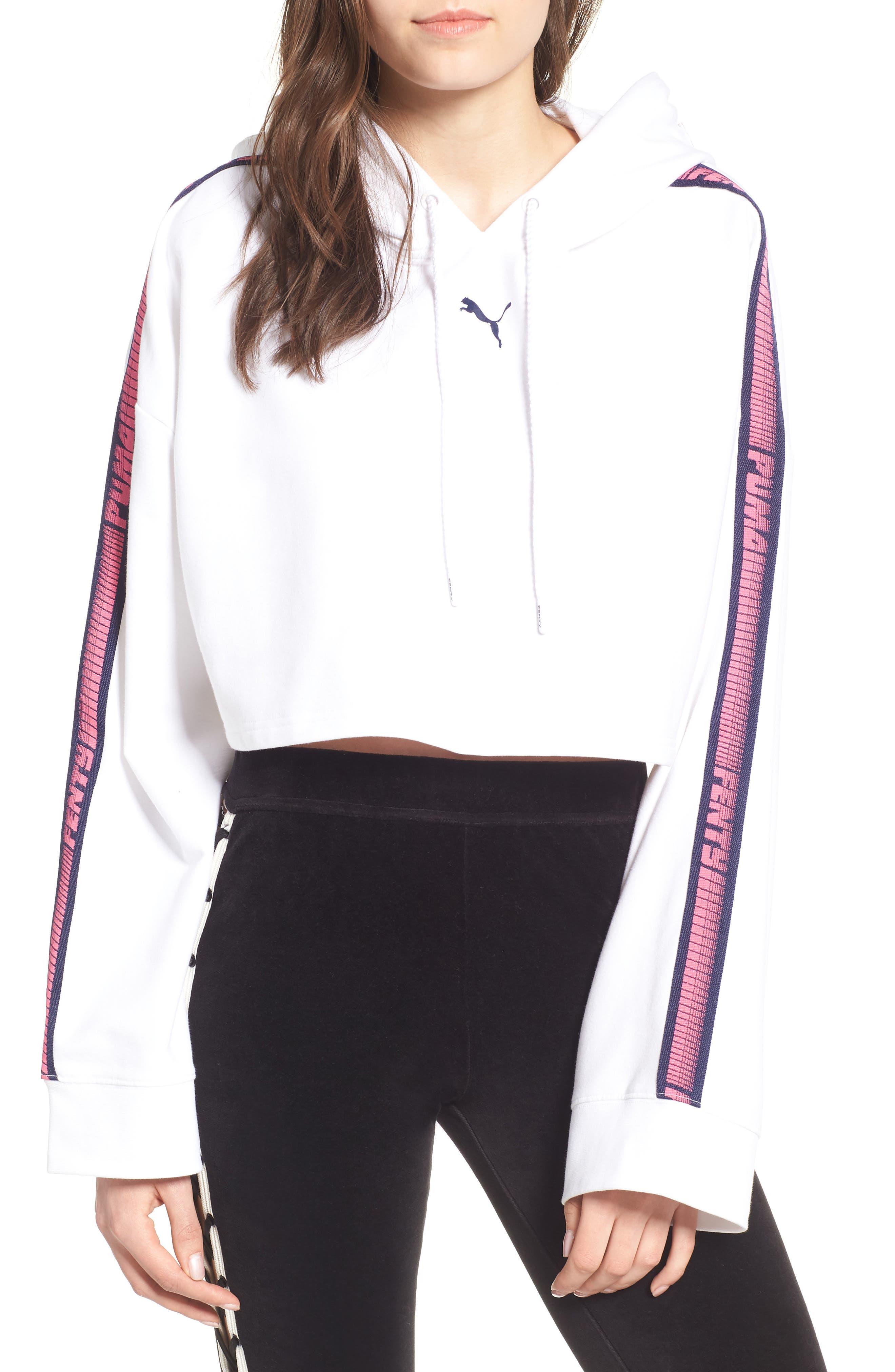 FENTY PUMA by Rihanna Hooded Crop Sweatshirt,                         Main,                         color, 100