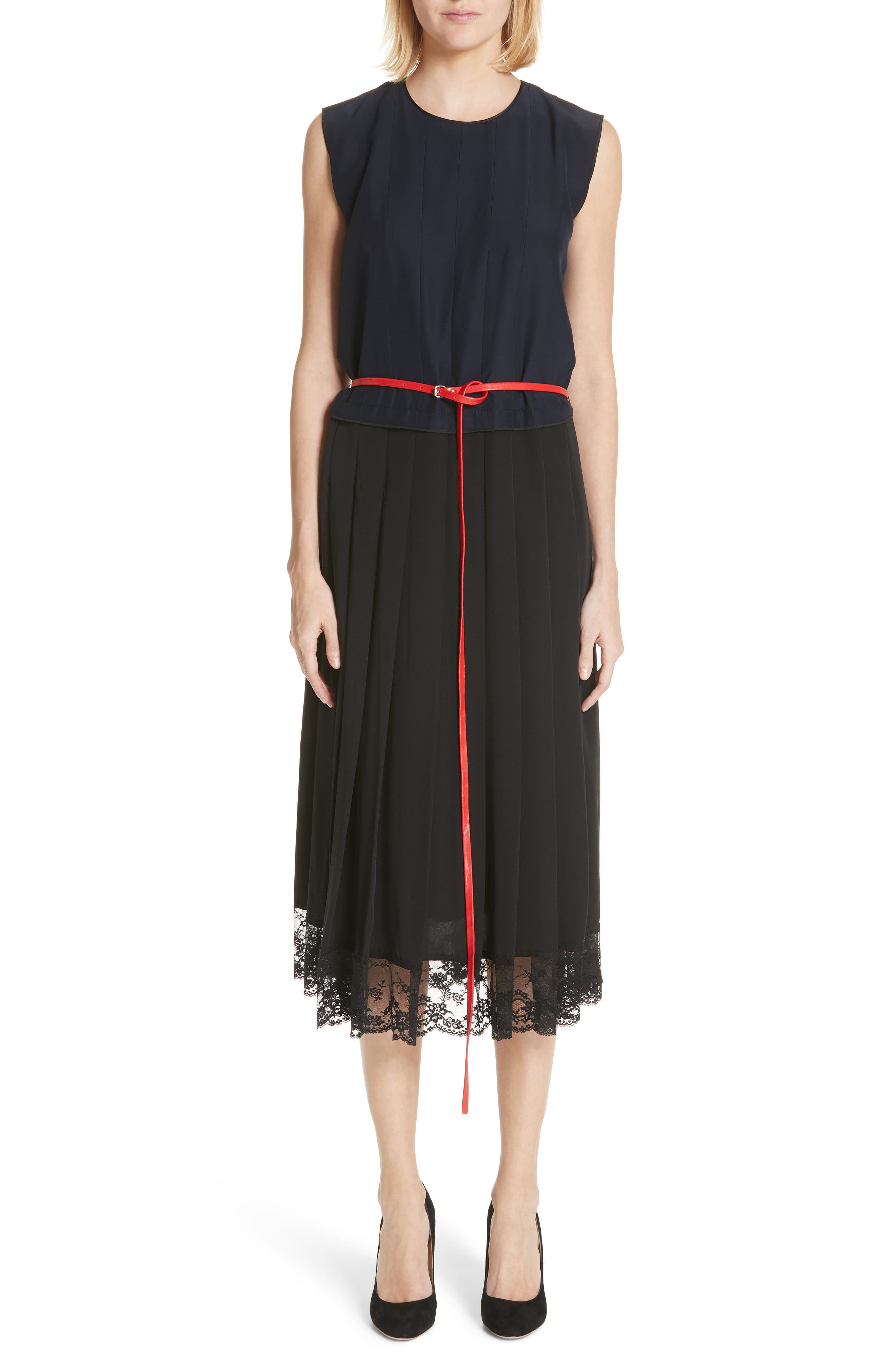 Marc Jacobs Bicolor Lace Trim Silk Dress, Blue