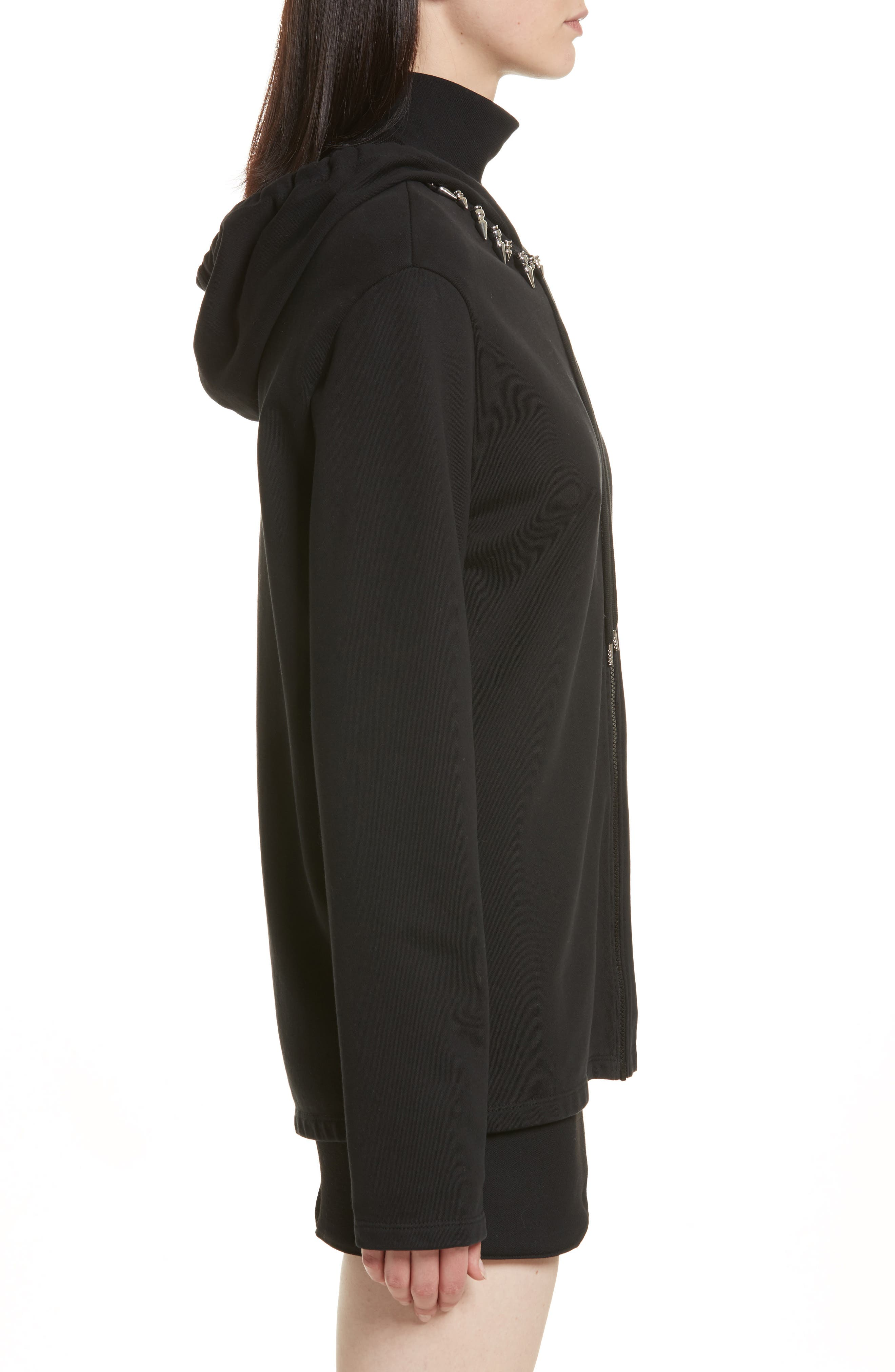 Re-Edition Stud Collar Hoodie,                             Alternate thumbnail 3, color,                             001