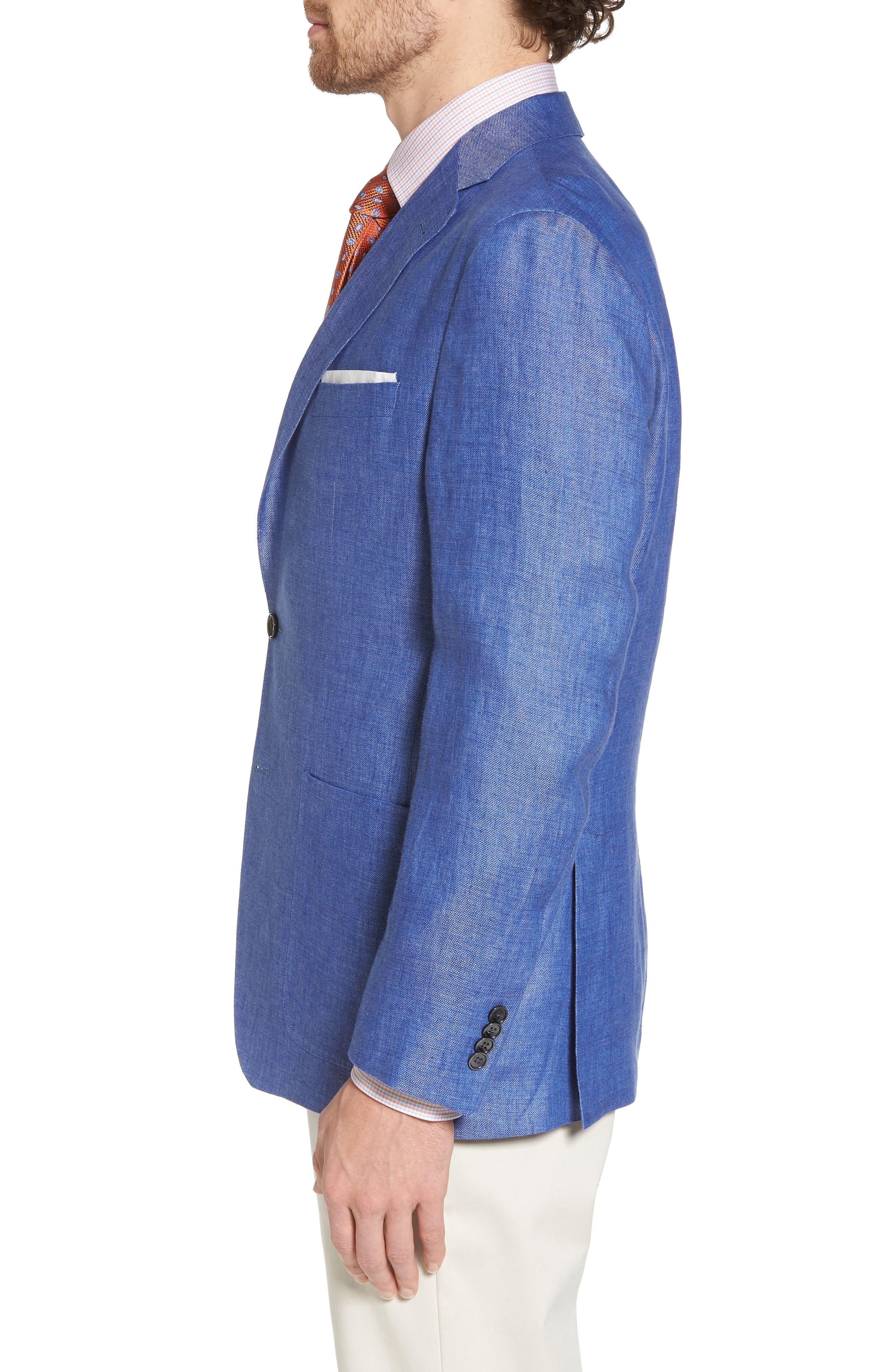 Aiden Classic Fit Linen Blazer,                             Alternate thumbnail 3, color,                             400