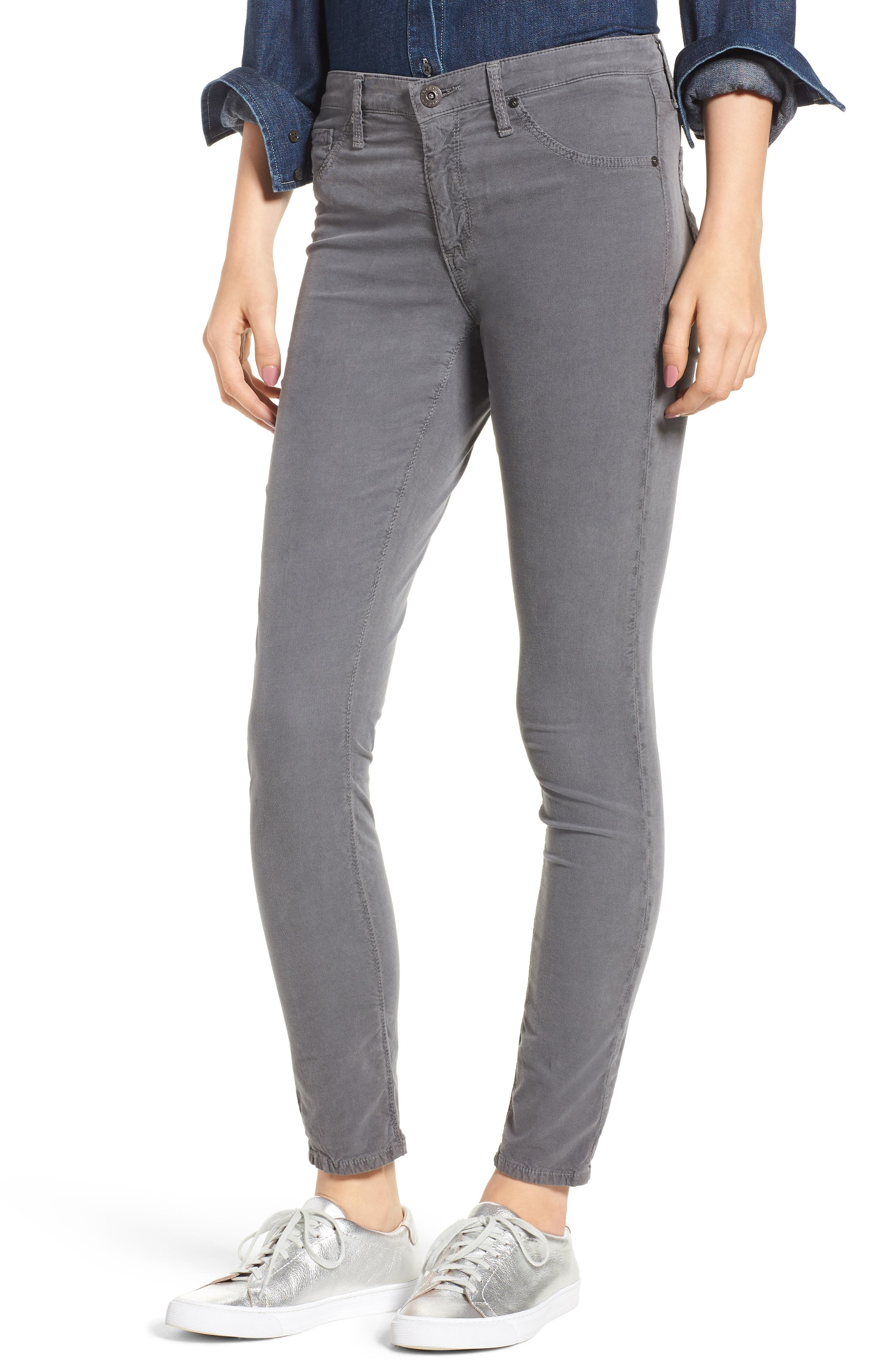 The Farrah High Waist Skinny Corduroy Pants,                         Main,                         color, SULFUR AUTUMN FOG