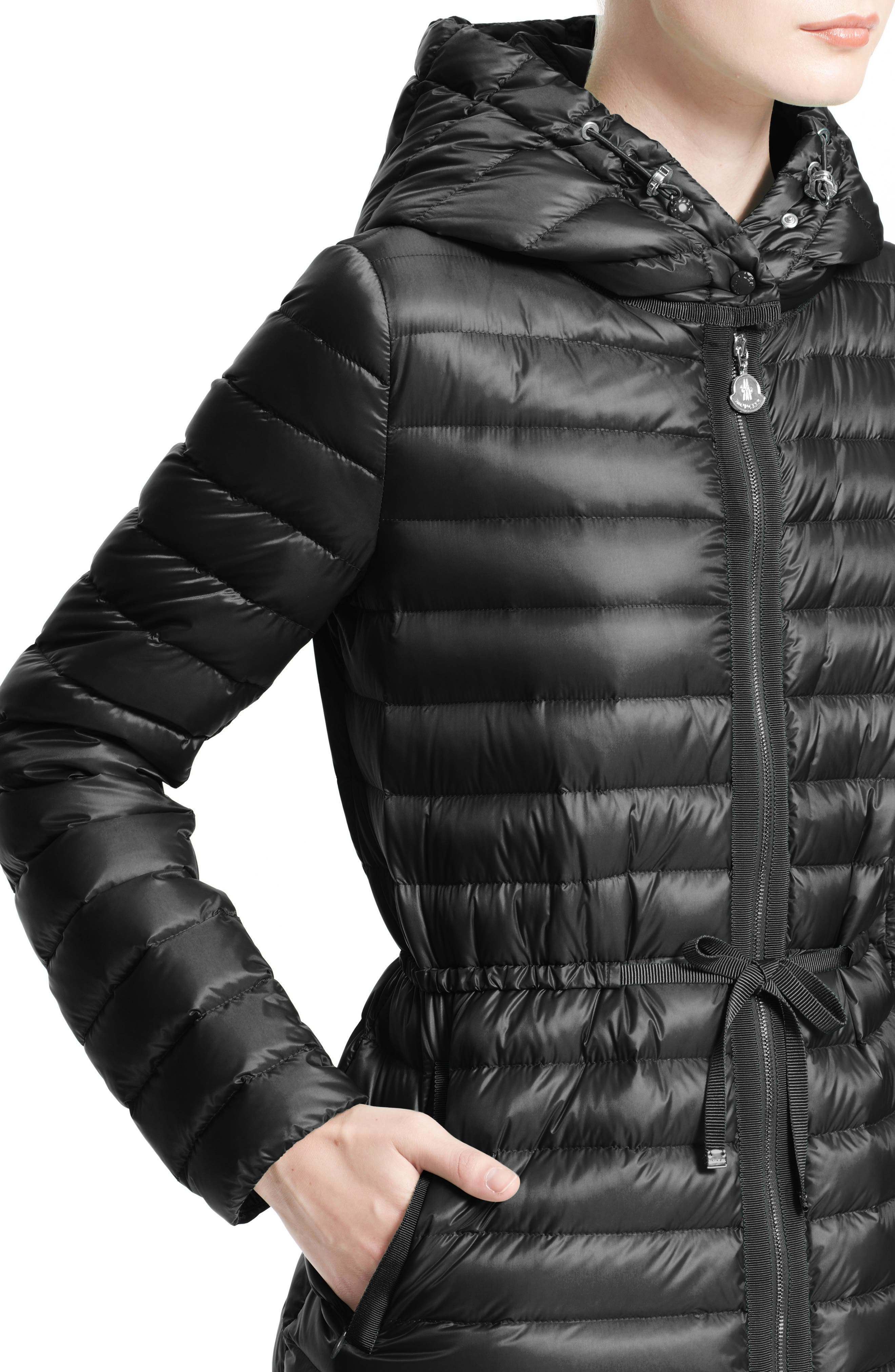 'Raie' Water Resistant Hooded Down Jacket,                             Alternate thumbnail 4, color,                             002