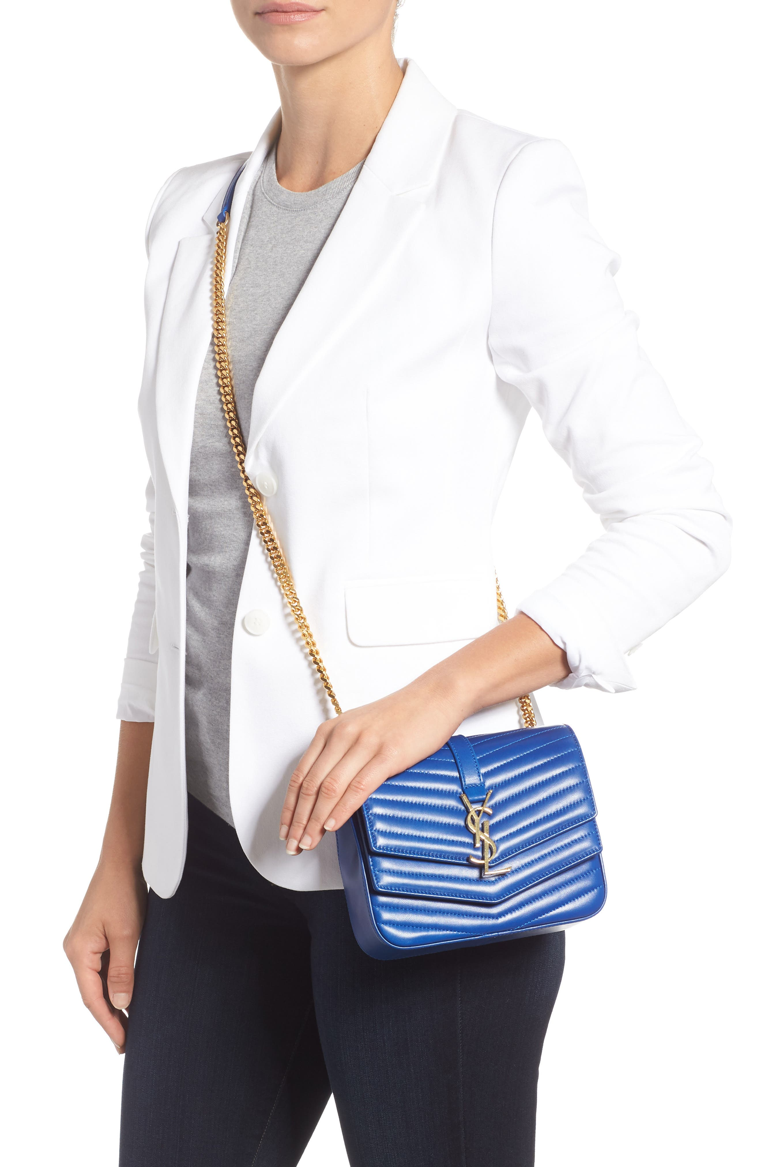 Montaigne Quilted Lambskin Crossbody Bag,                             Alternate thumbnail 2, color,                             BRIGHT BLUE