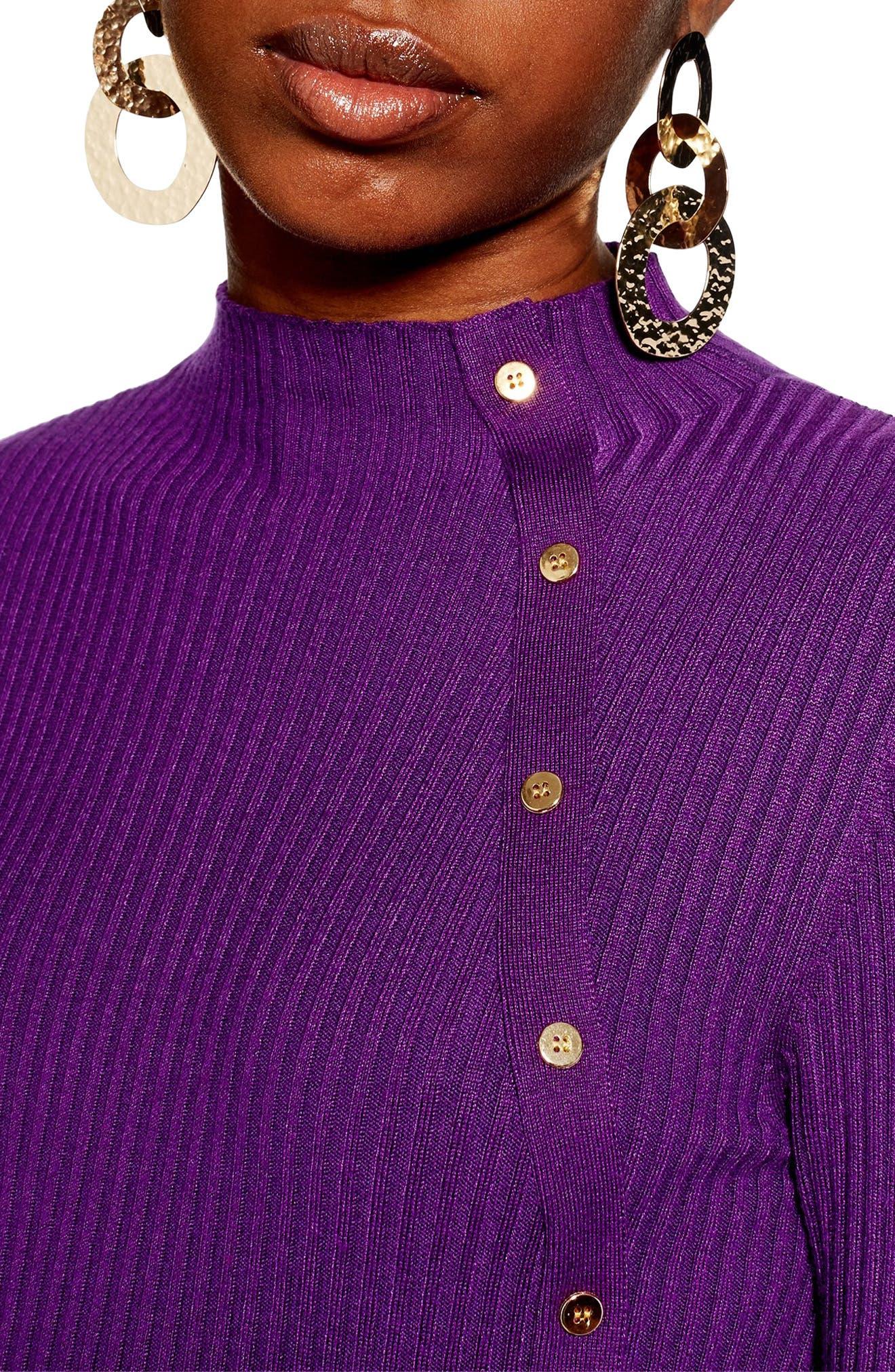 Side Button Rib Sweater,                             Alternate thumbnail 3, color,                             PURPLE