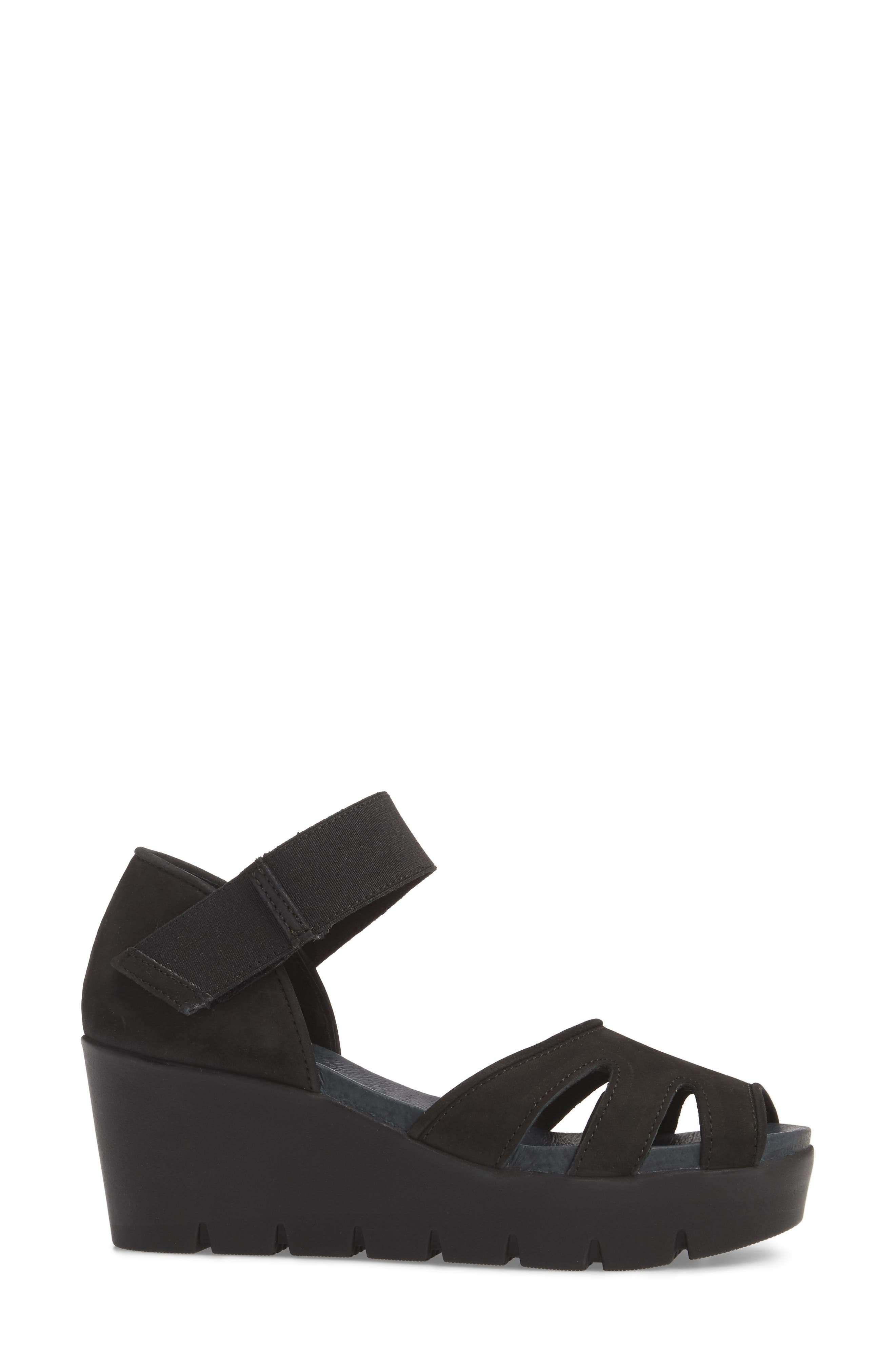 Sharon Platform Wedge Sandal,                             Alternate thumbnail 3, color,                             BLACK NUBUCK LEATHER