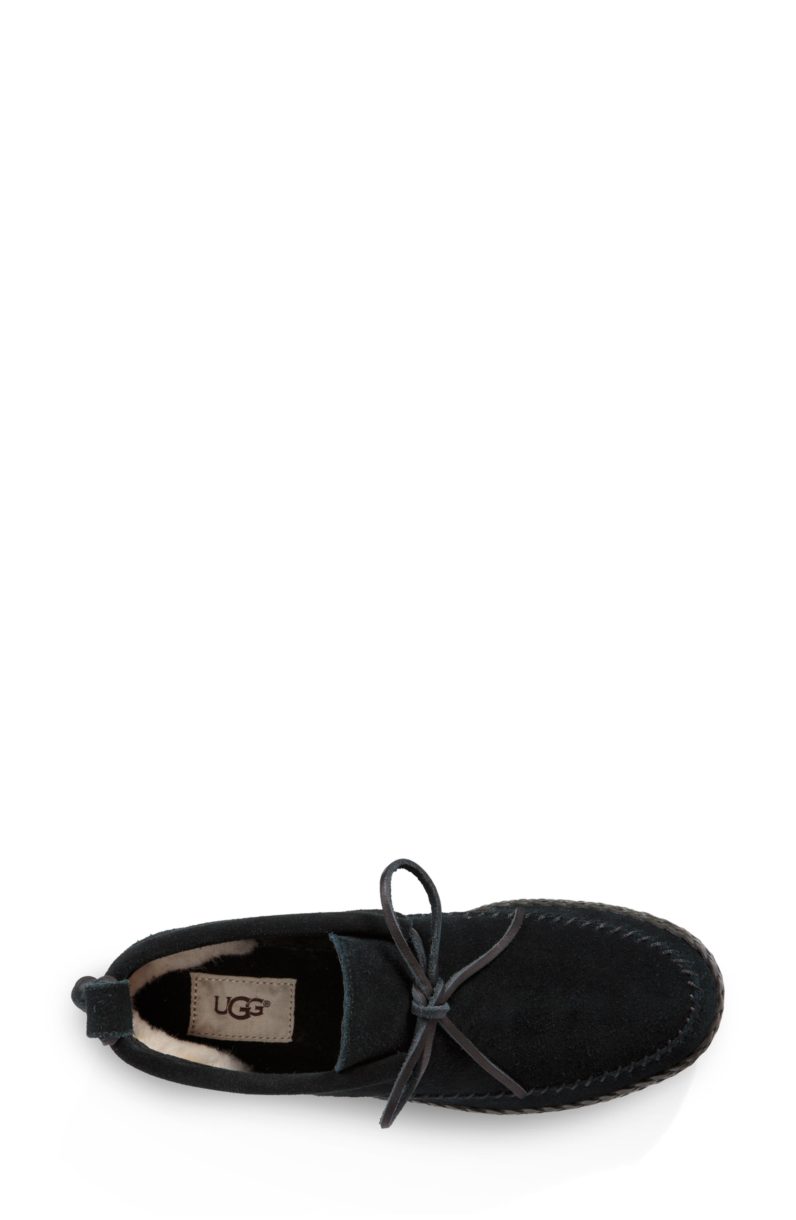 Woodlyn Moc Toe Bootie,                             Alternate thumbnail 4, color,                             BLACK LEATHER