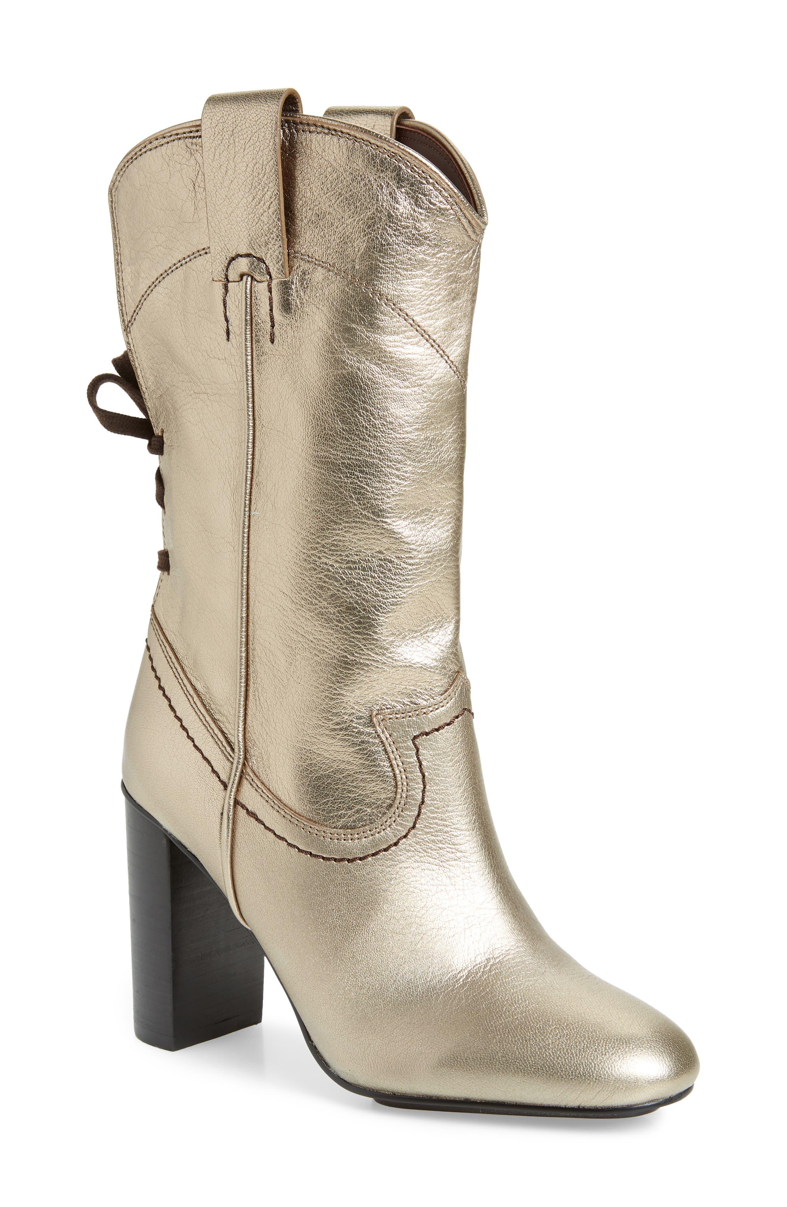 Annika Split Shaft Western Boot,                             Main thumbnail 1, color,                             ACCIAIO