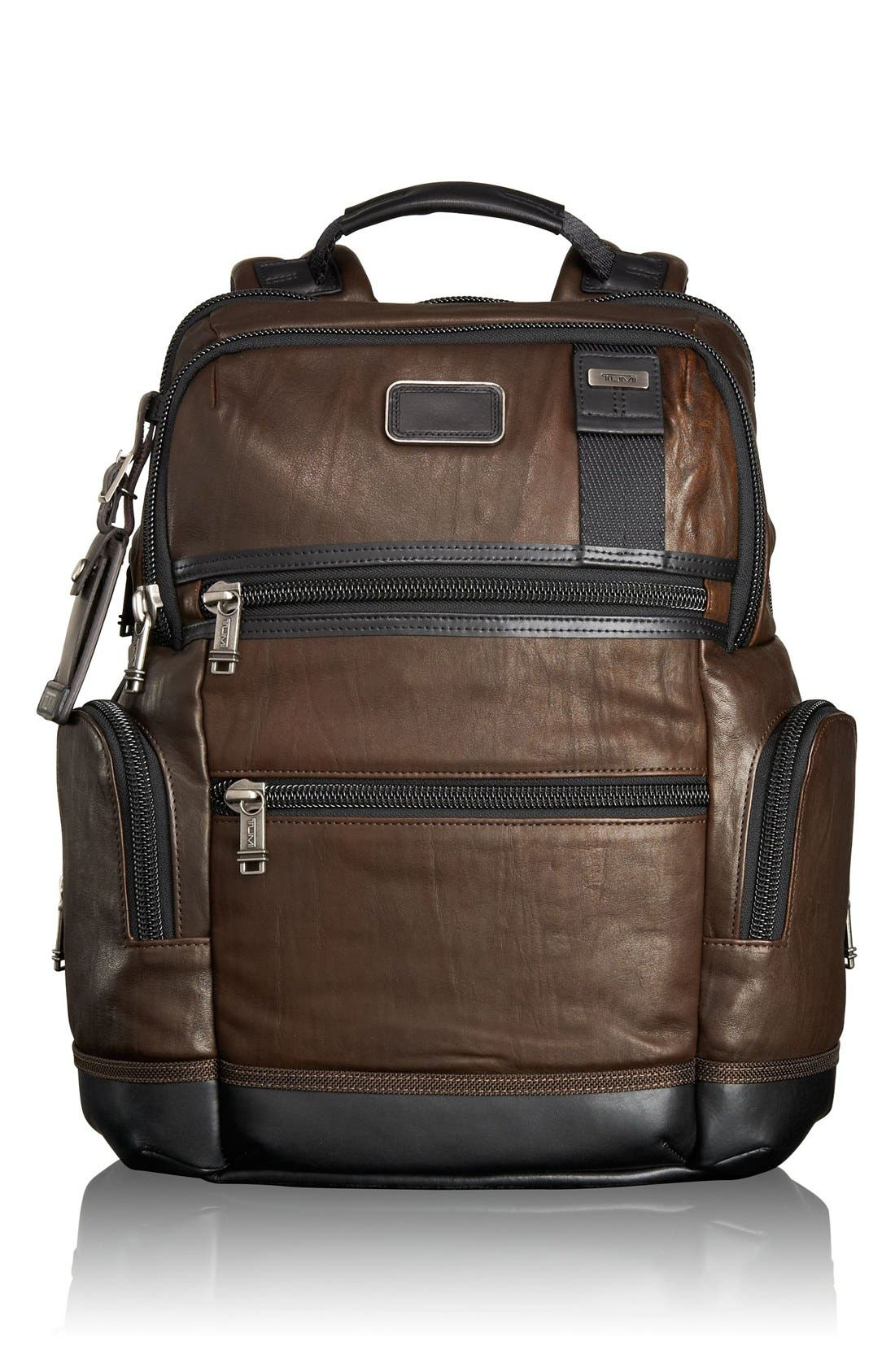 'Bravo - Knox' Leather Backpack,                             Main thumbnail 1, color,                             204