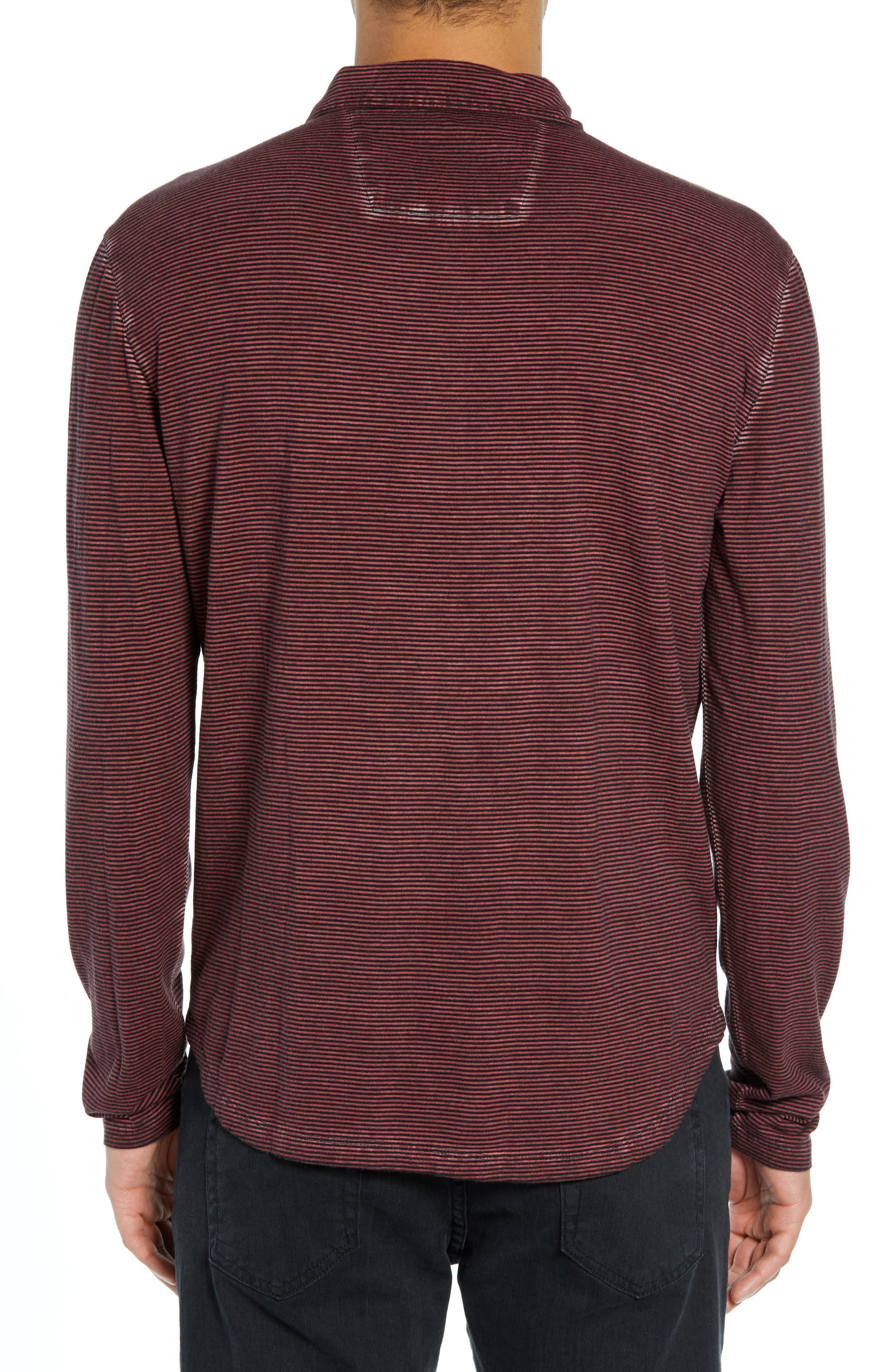 Striped Long Sleeve Polo,                             Alternate thumbnail 2, color,                             BORDEAUX
