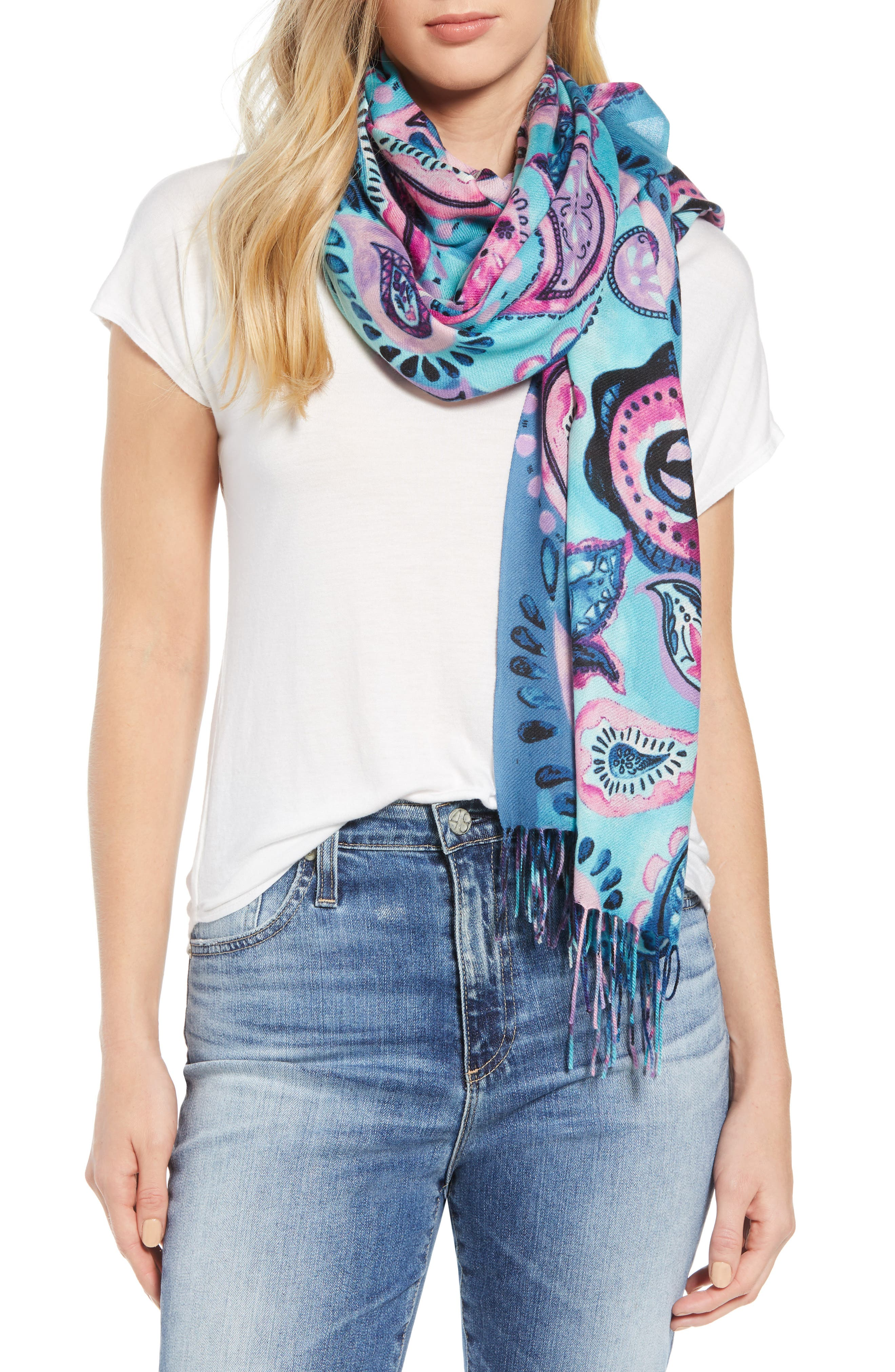 Tissue Print Wool & Cashmere Wrap Scarf,                             Main thumbnail 17, color,